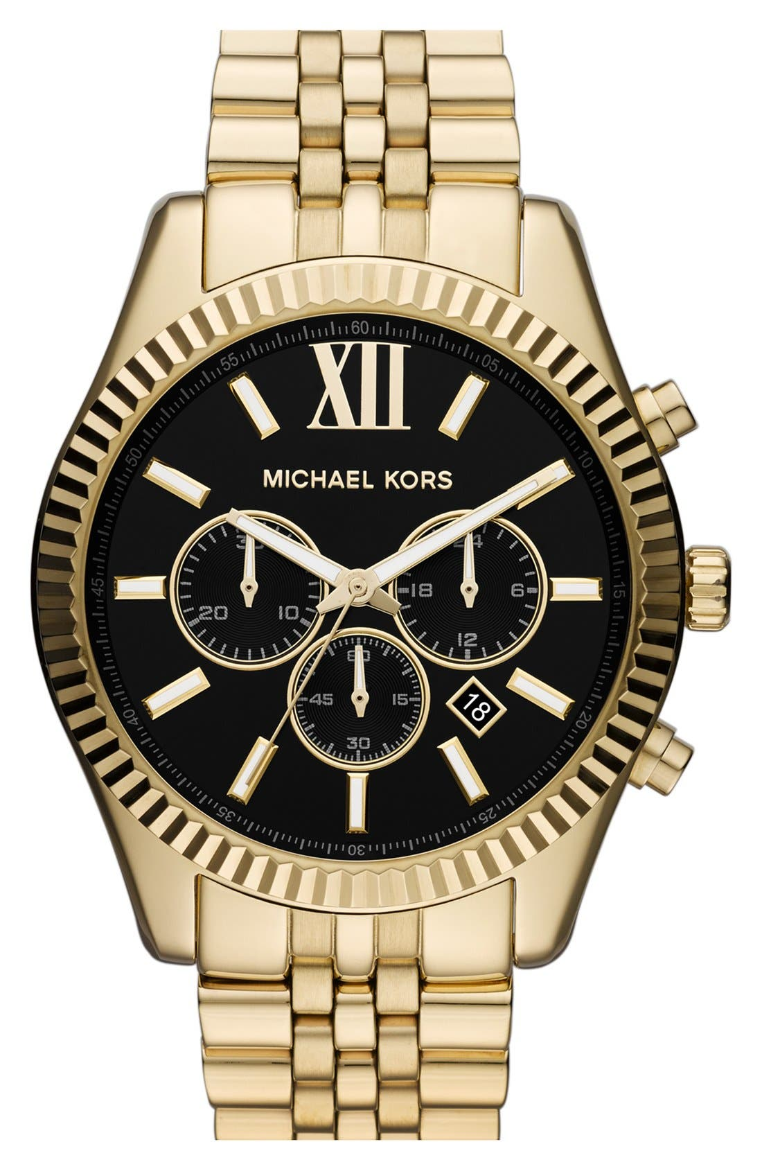 MICHAEL KORS, 'Large Lexington' Chronograph Bracelet Watch, 45mm, Main thumbnail 1, color, GOLD/ BLACK