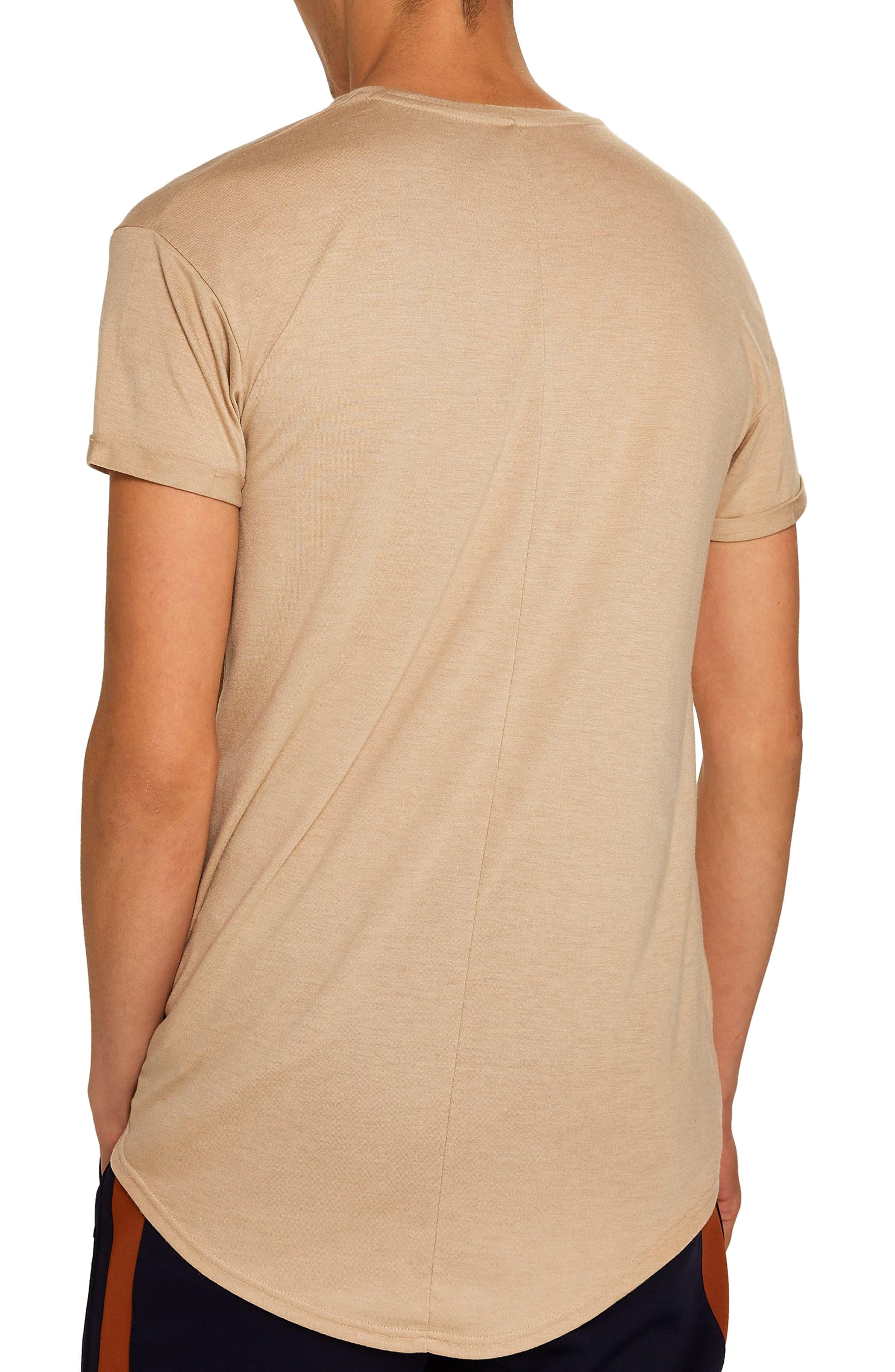 TOPMAN, Scotty Longline T-Shirt, Alternate thumbnail 2, color, STONE