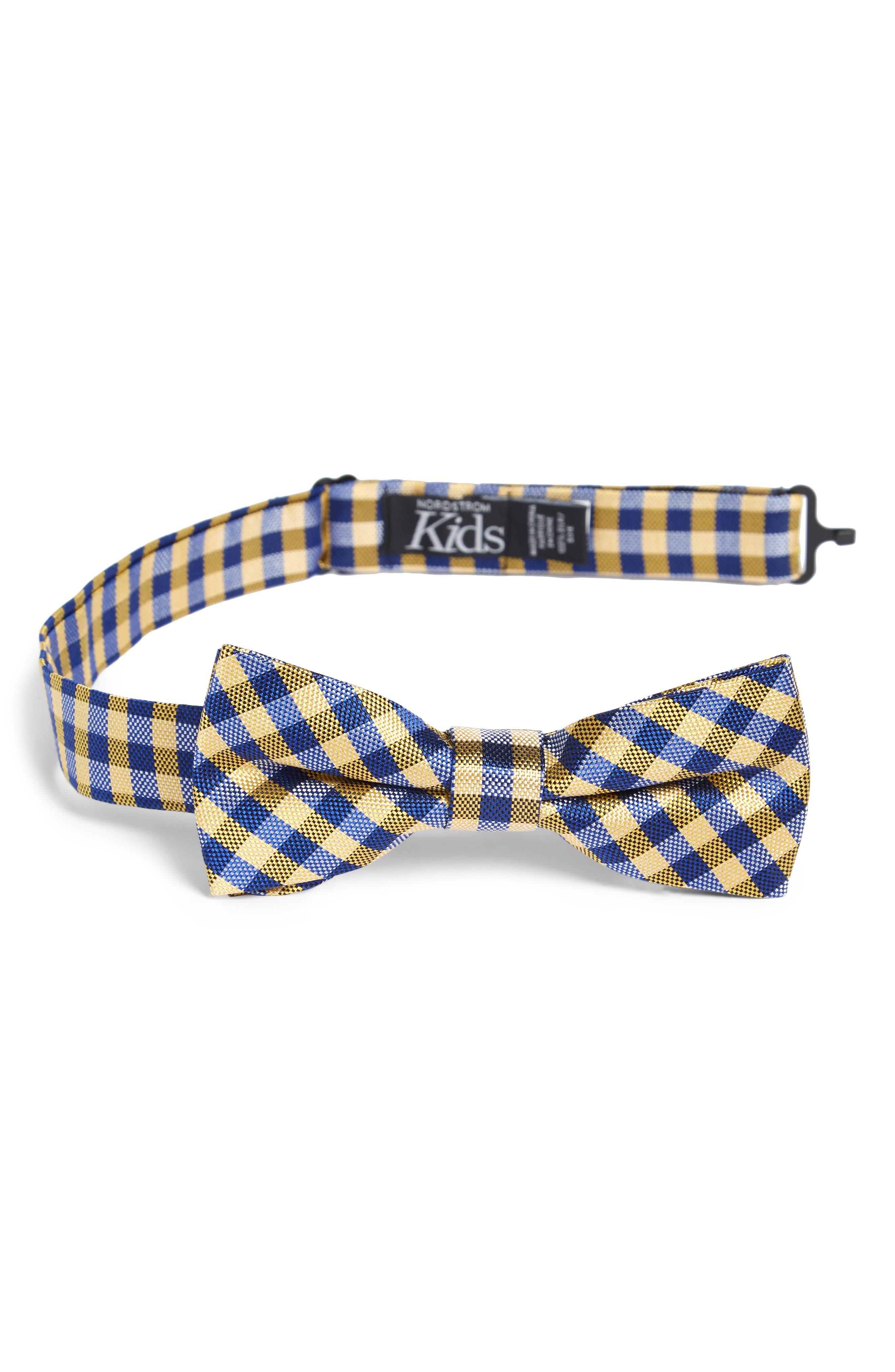 NORDSTROM, Plaid Silk Bow Tie, Main thumbnail 1, color, 700