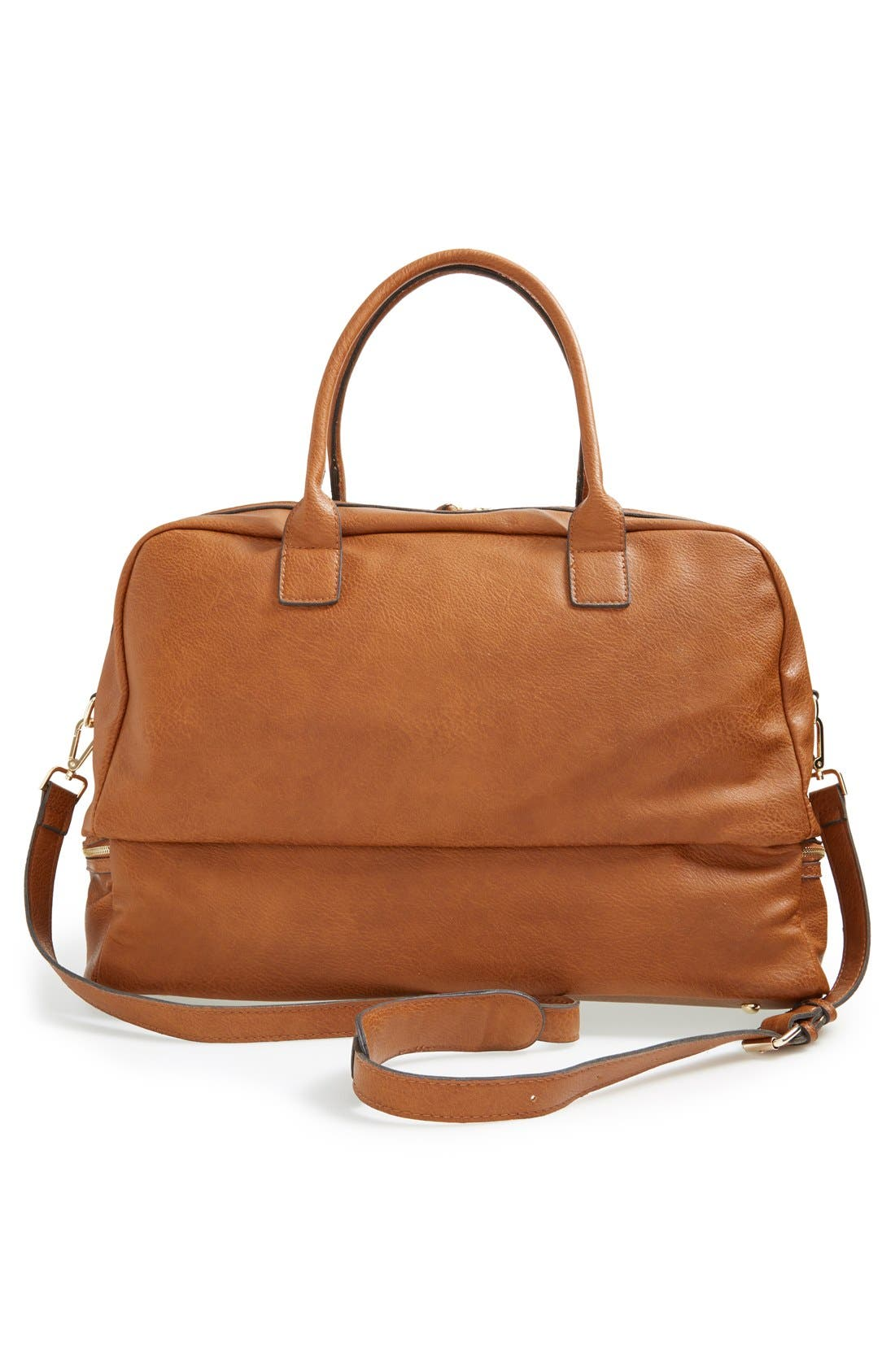 SOLE SOCIETY, Mason Weekend Bag, Alternate thumbnail 2, color, COGNAC