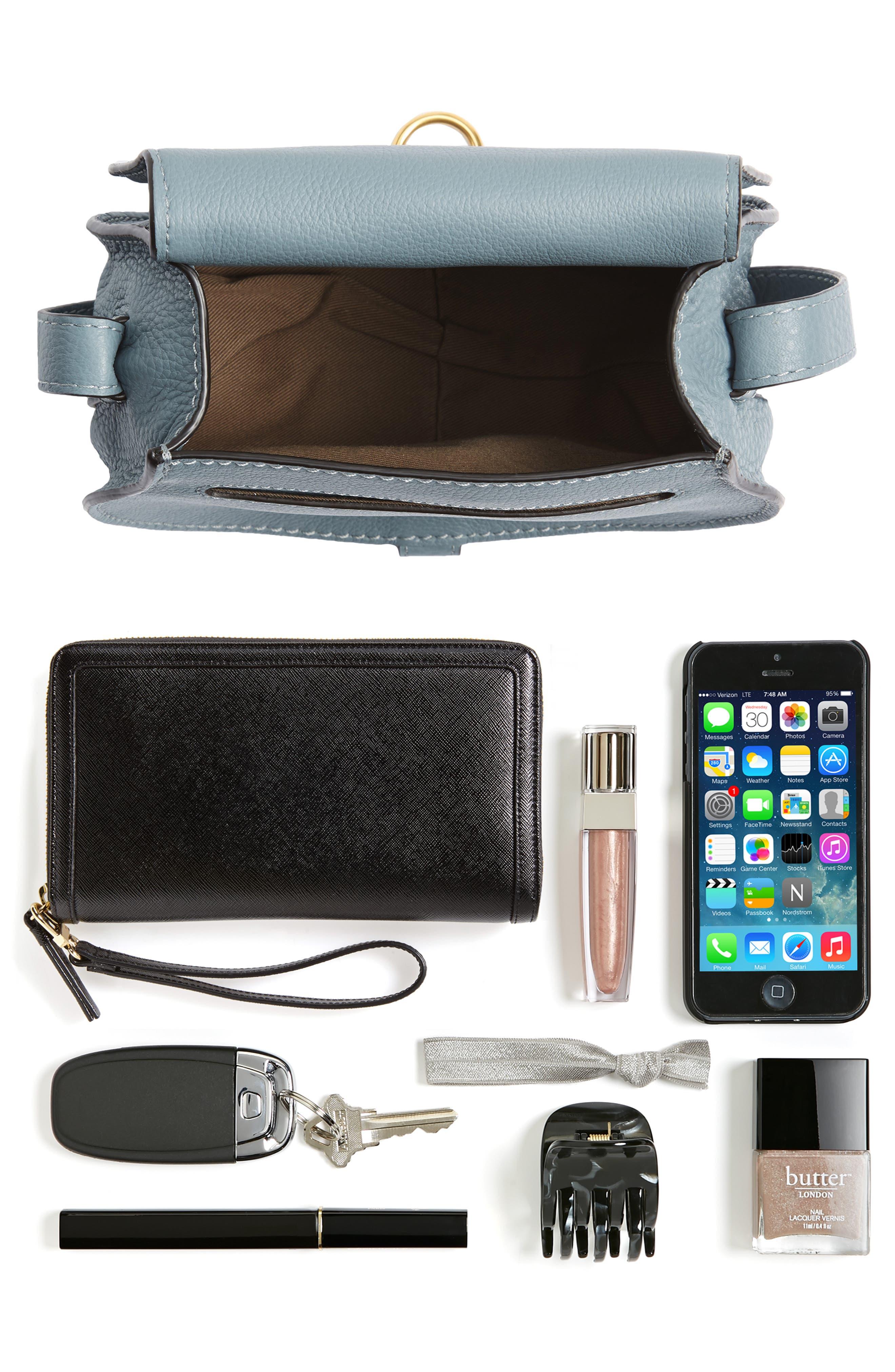 CHLOÉ, 'Mini Marcie' Leather Crossbody Bag, Alternate thumbnail 7, color, BFC CLOUDY BLUE