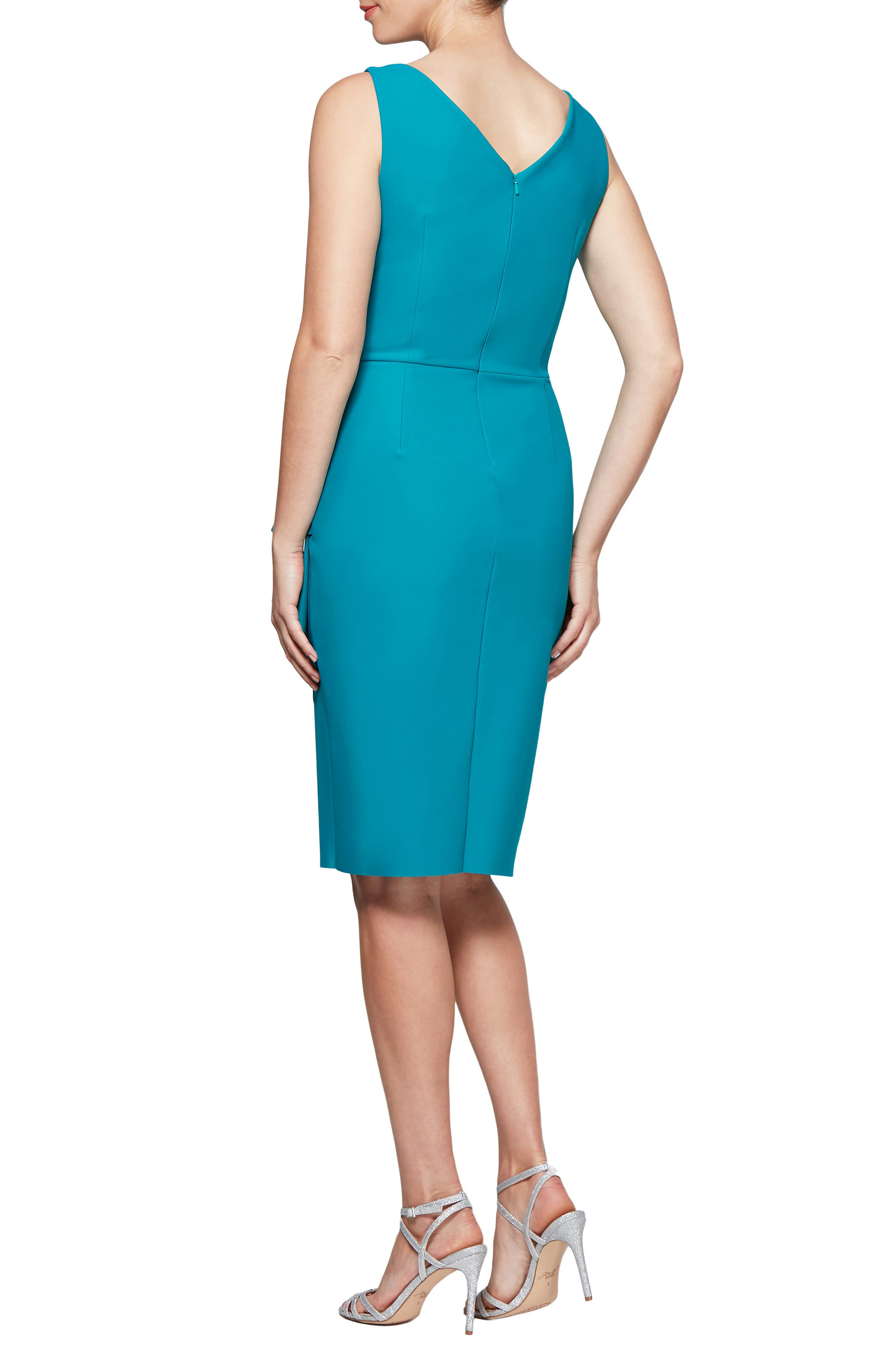 ALEX EVENINGS, Side Ruched Dress, Alternate thumbnail 2, color, TURQUOISE