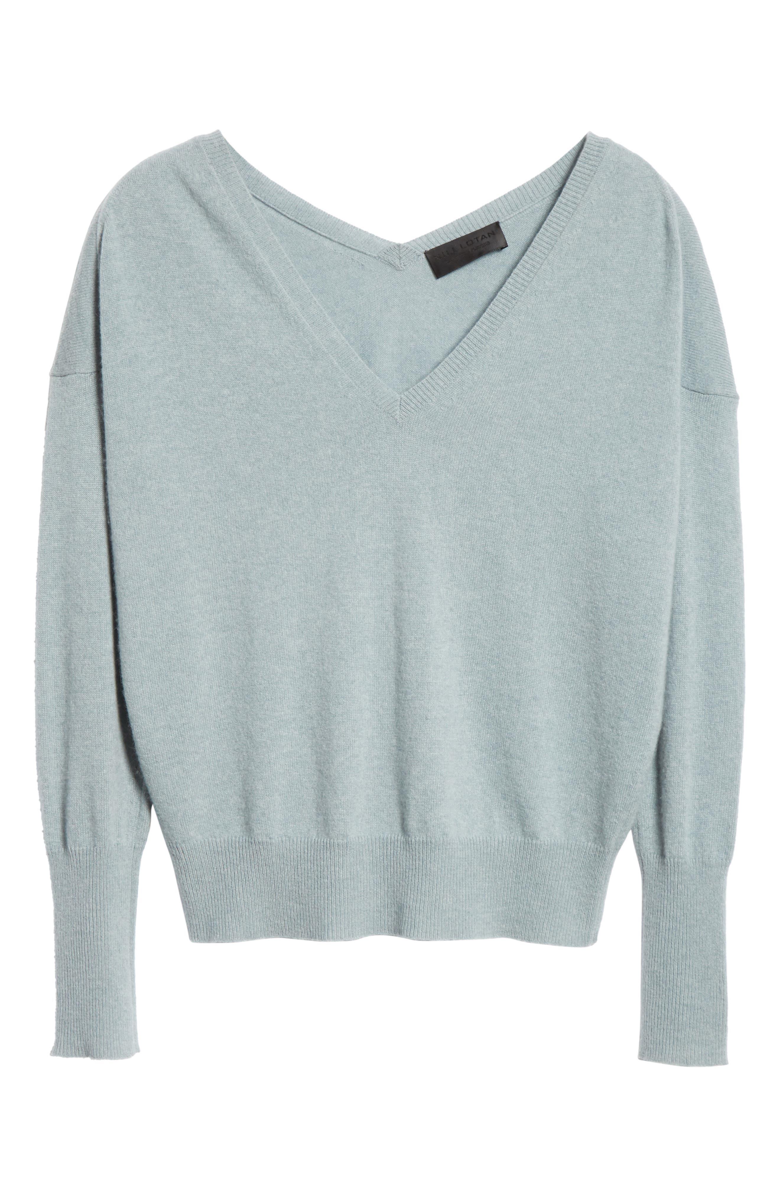 NILI LOTAN, Kylan Cashmere Sweater, Alternate thumbnail 6, color, SKY BLUE