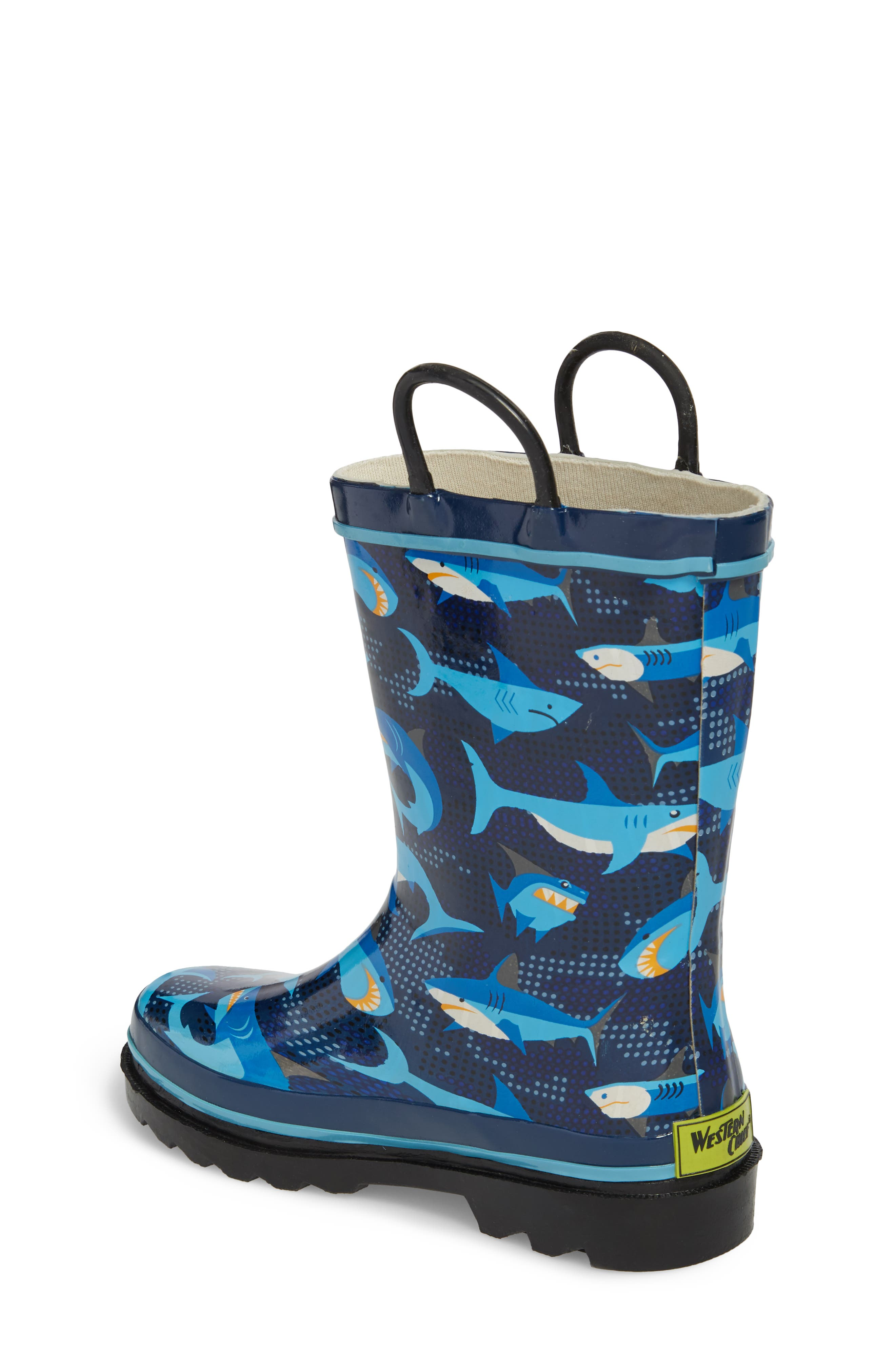 WESTERN CHIEF, Pixel Shark Camo Rain Boot, Alternate thumbnail 2, color, NAVY