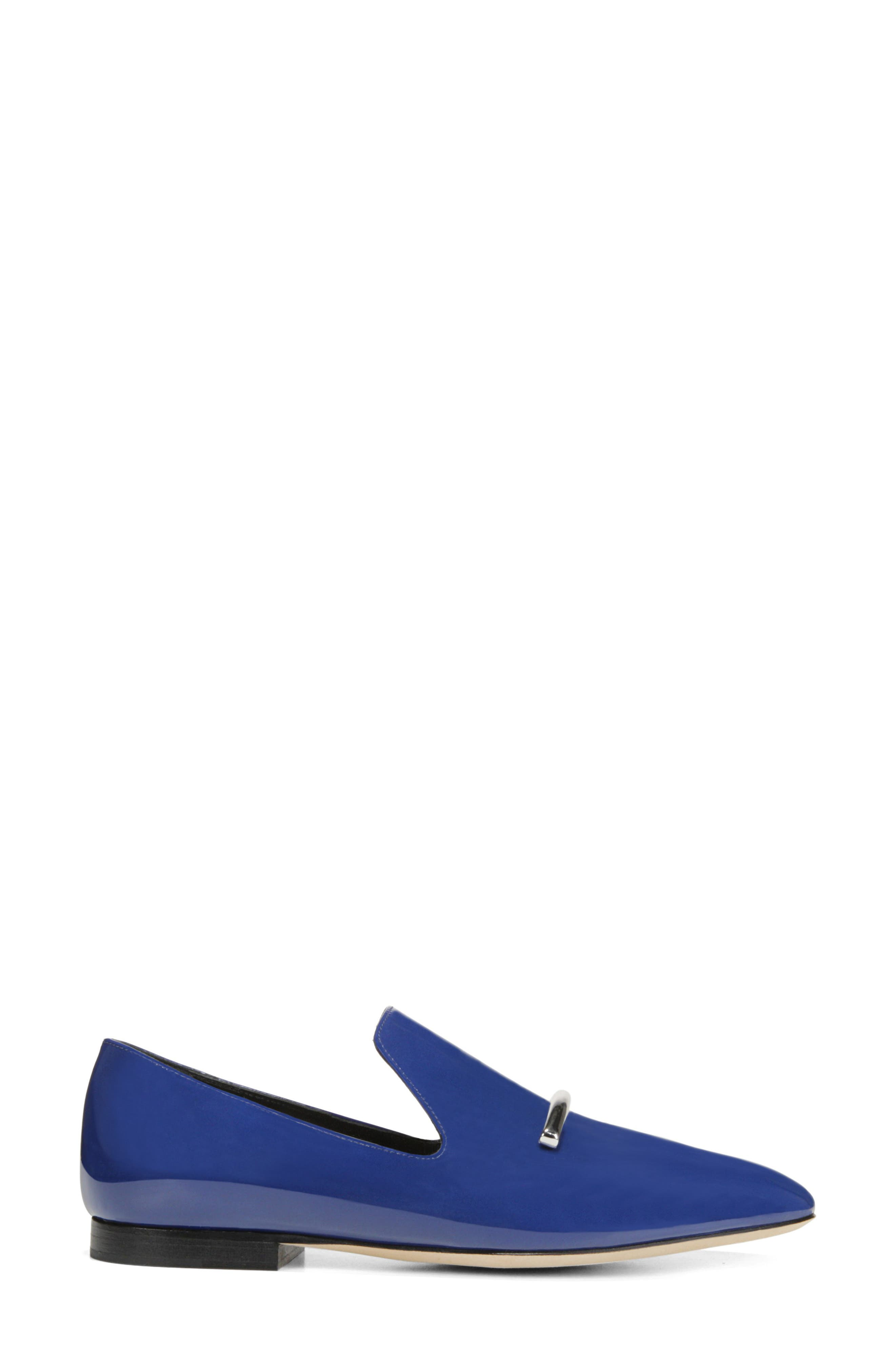 VIA SPIGA, Tallis Flat Loafer, Alternate thumbnail 3, color, POP BLUE