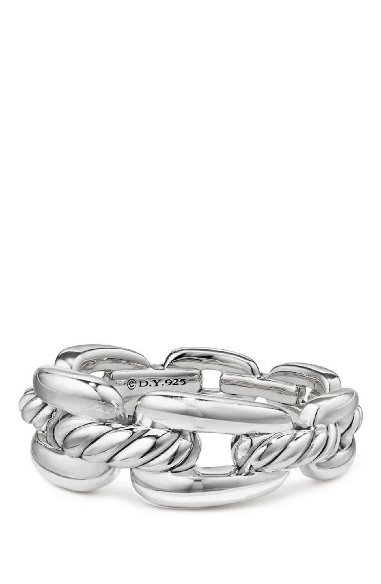 DAVID YURMAN, Wellesley Chain Link Ring with Diamonds, Main thumbnail 1, color, SILVER