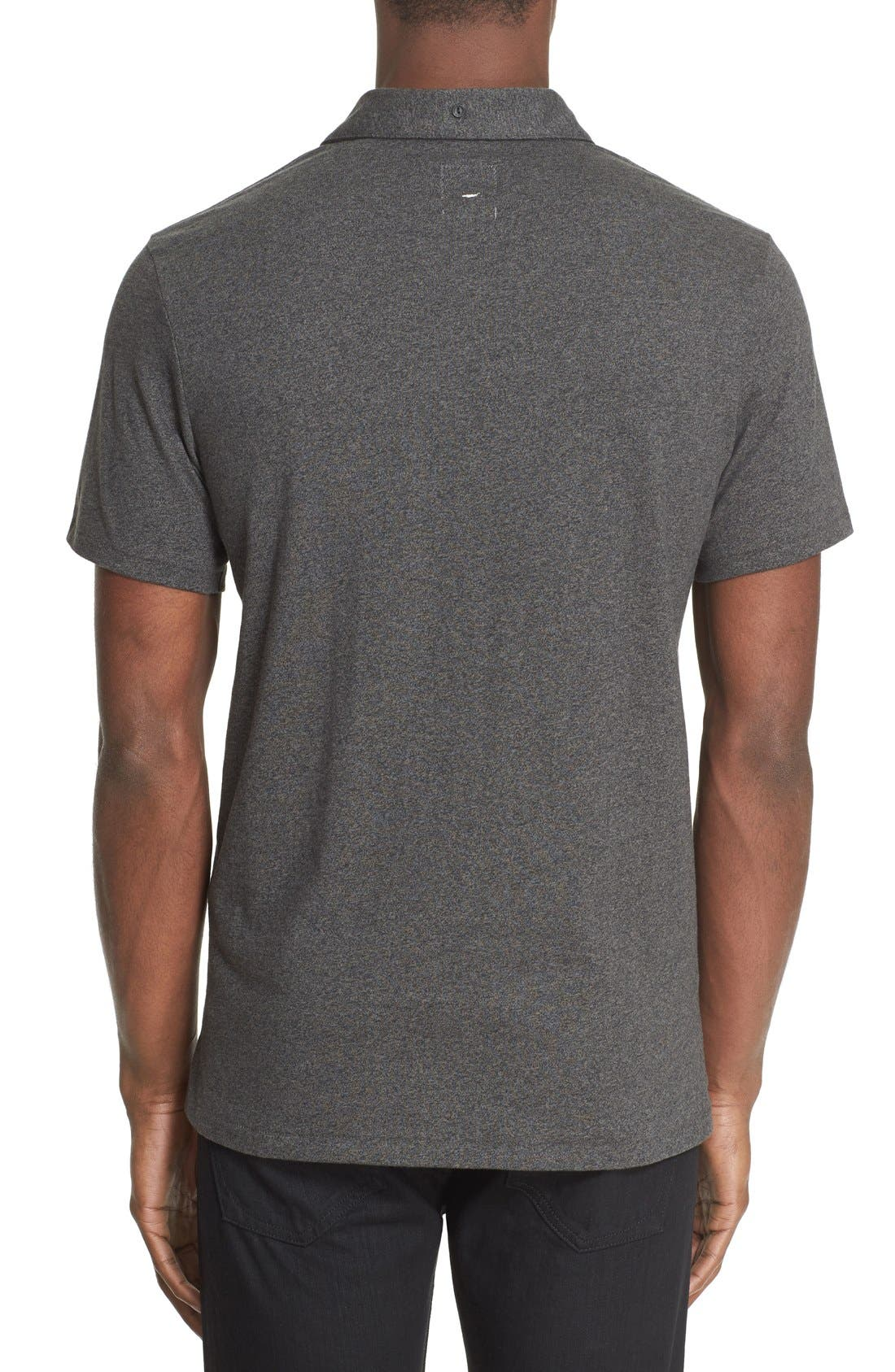 RAG & BONE, Standard Issue Regular Fit Slub Cotton Polo, Alternate thumbnail 4, color, PEWTER