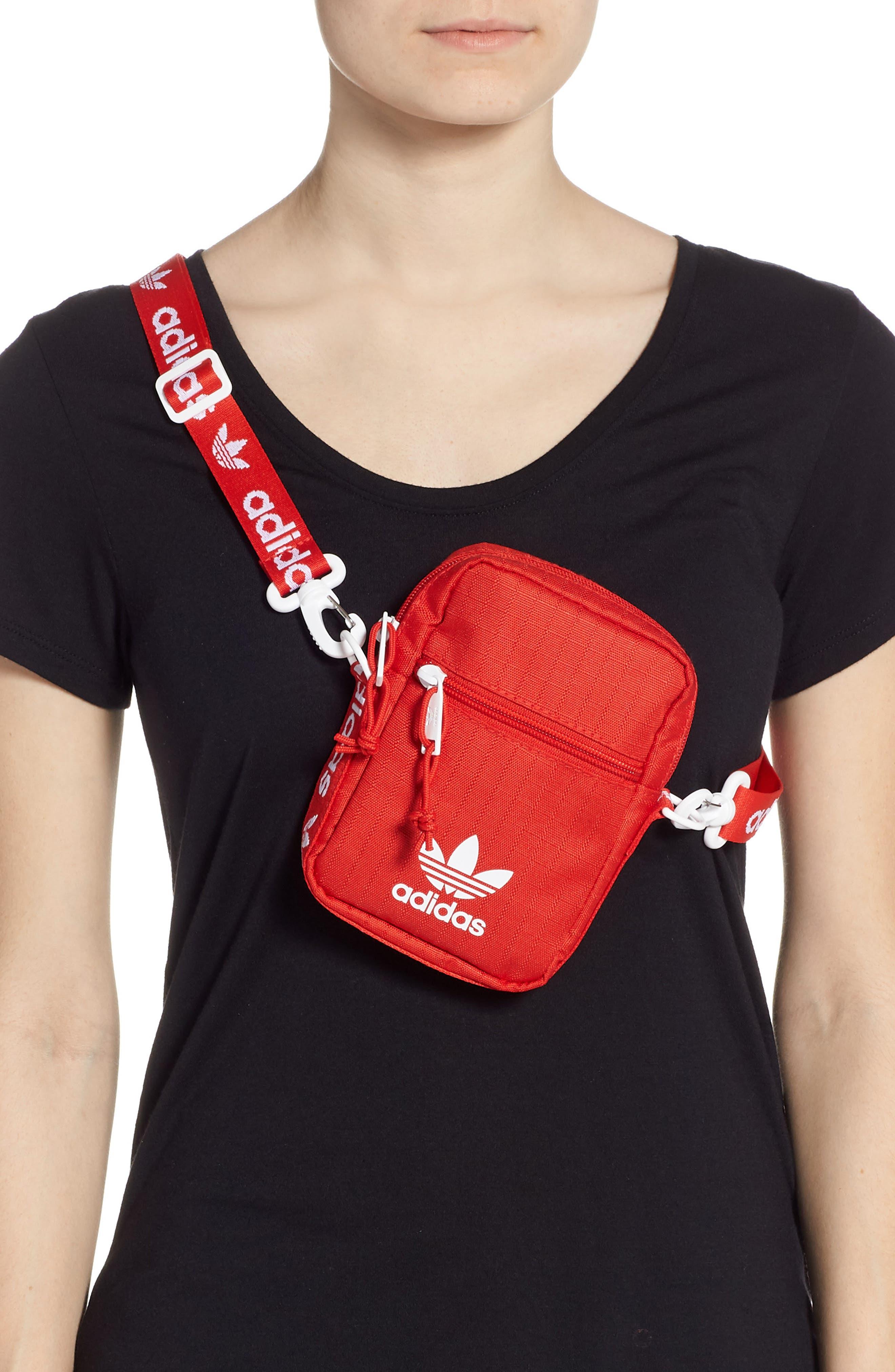 ADIDAS, Logo Belt Bag, Alternate thumbnail 3, color, RED