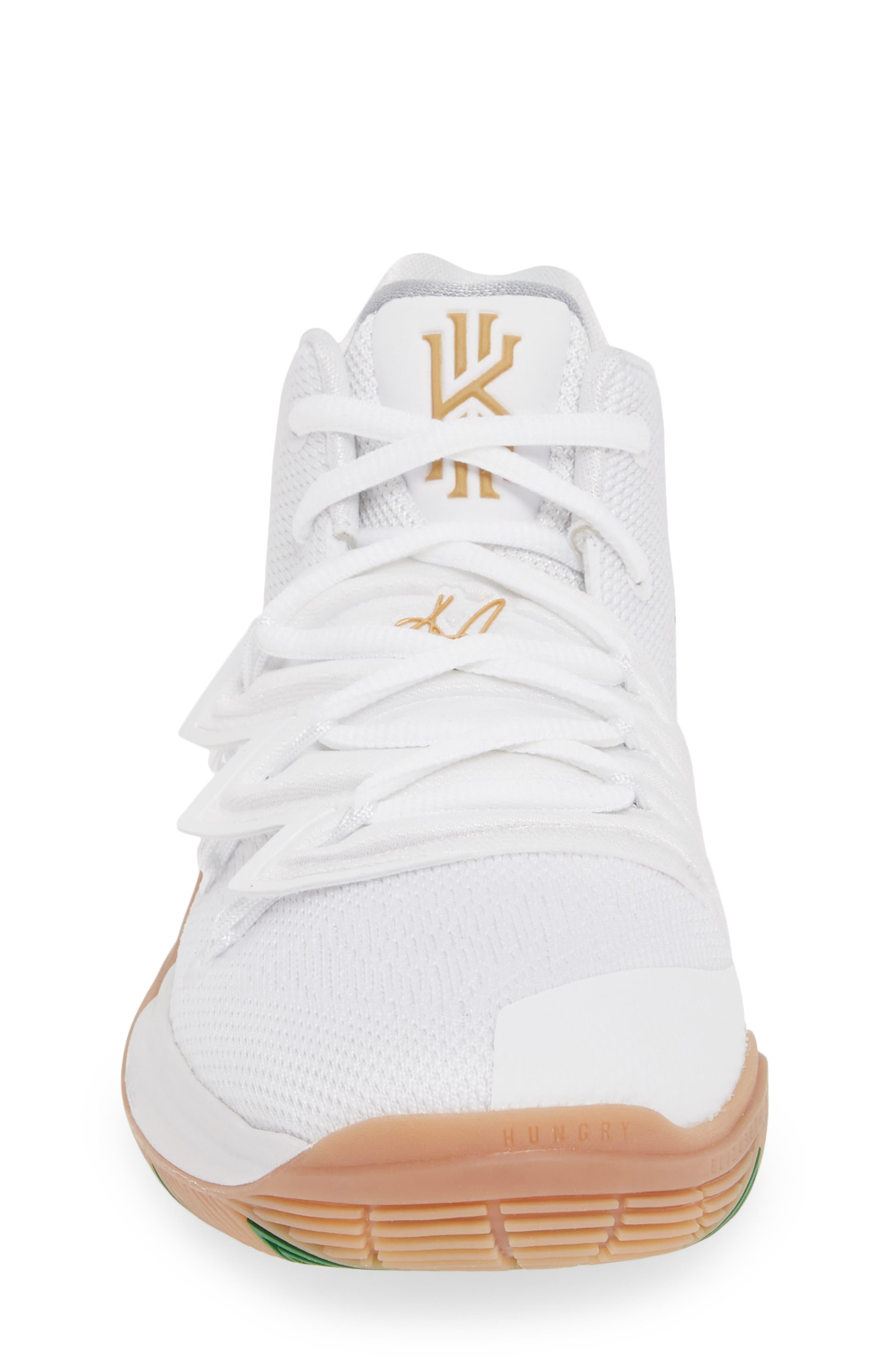 NIKE, Kyrie 5 Basketball Shoe, Alternate thumbnail 4, color, WHITE/ METALLIC GOLD-PLATINUM