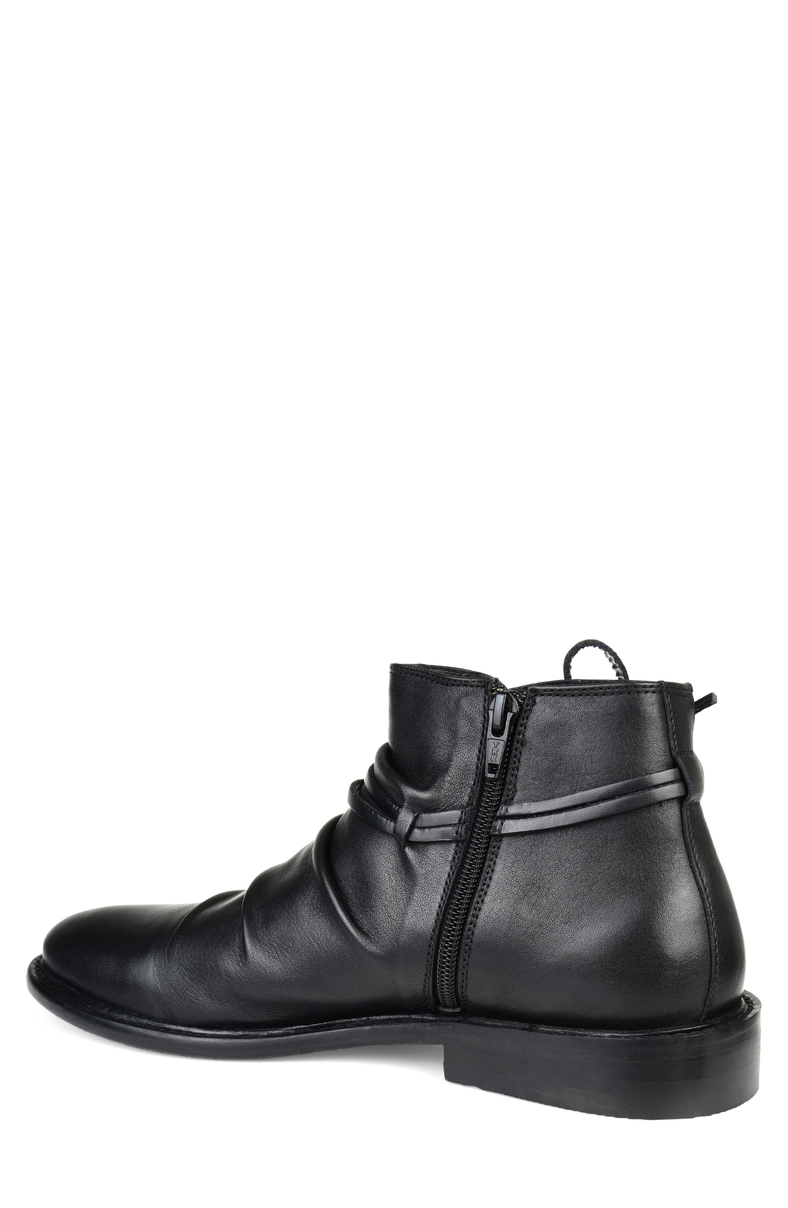 THOMAS AND VINE, Gideon Mid Rippled Boot, Alternate thumbnail 2, color, BLACK LEATHER