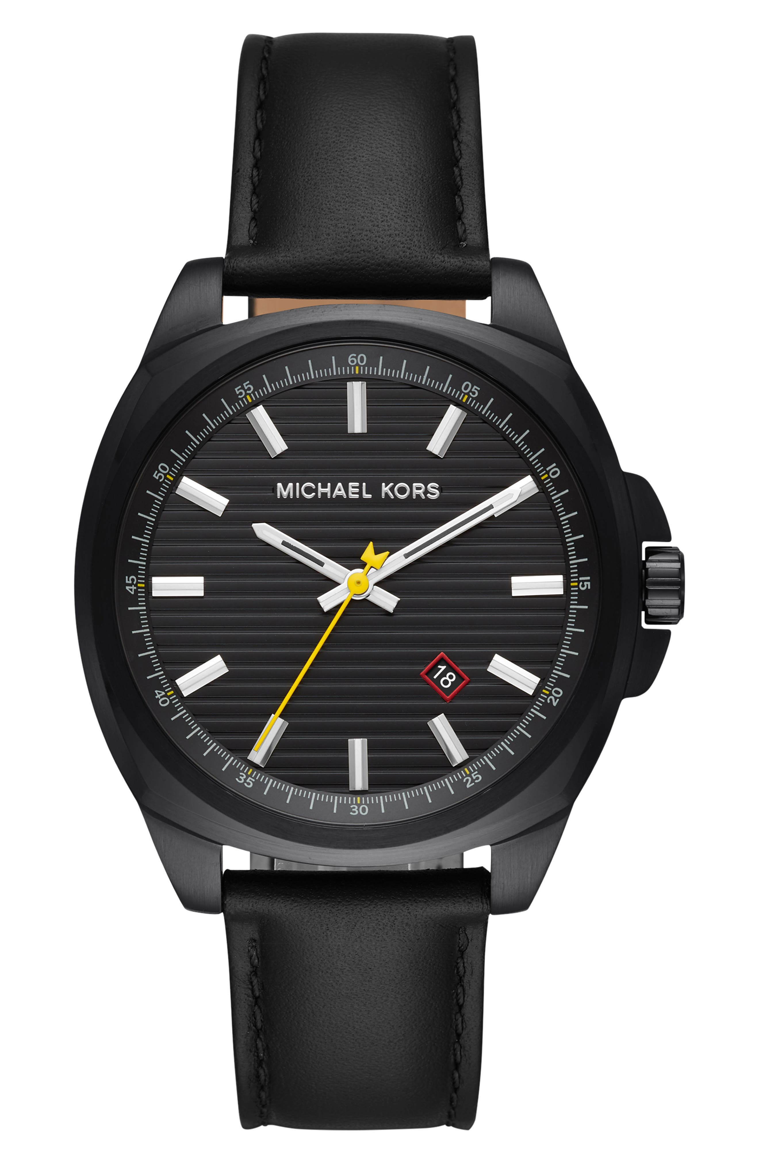 MICHAEL KORS Bryson Leather Strap Watch, 42mm, Main, color, 001