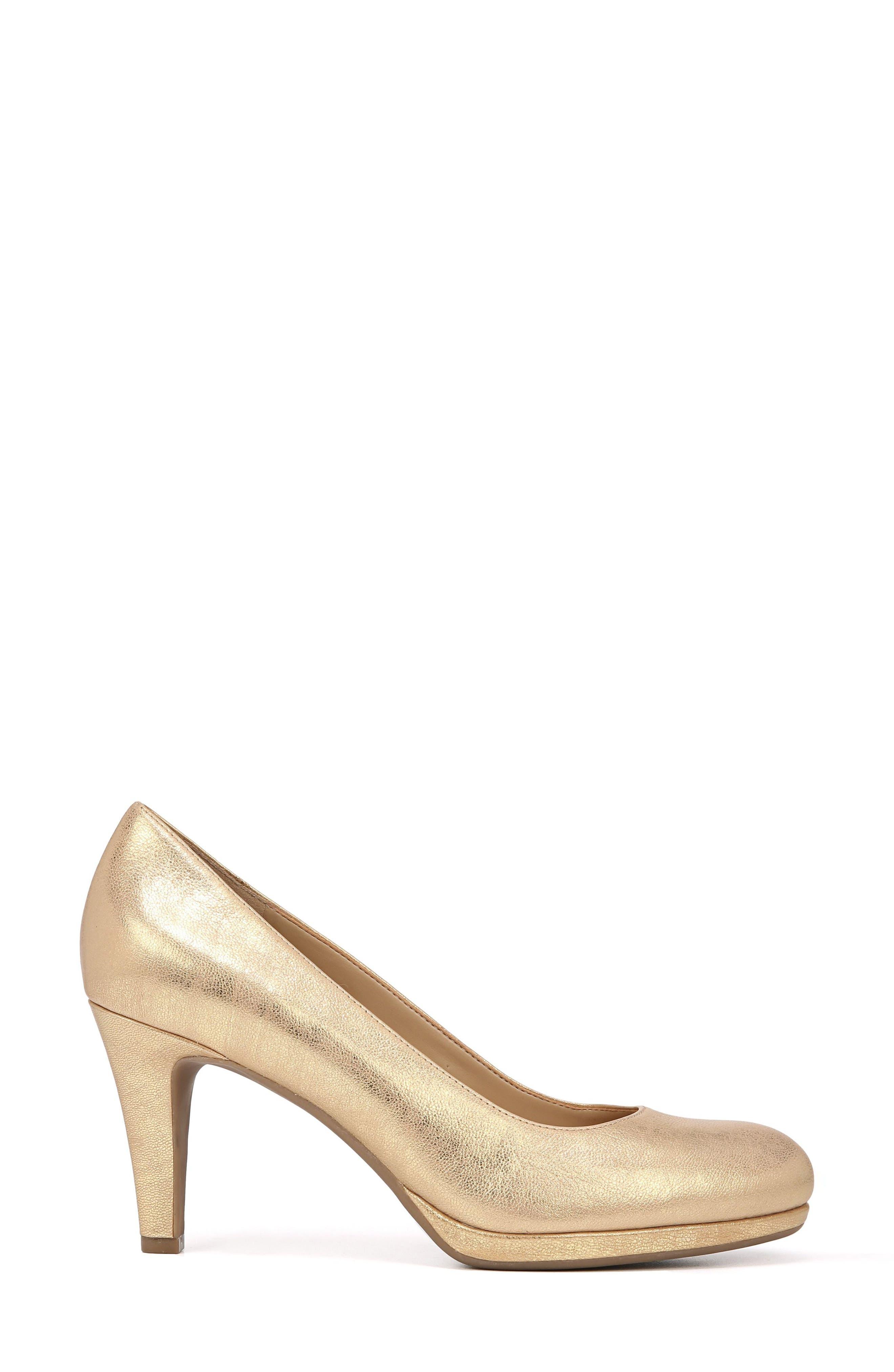 NATURALIZER, 'Michelle' Almond Toe Pump, Alternate thumbnail 3, color, GOLD LEATHER