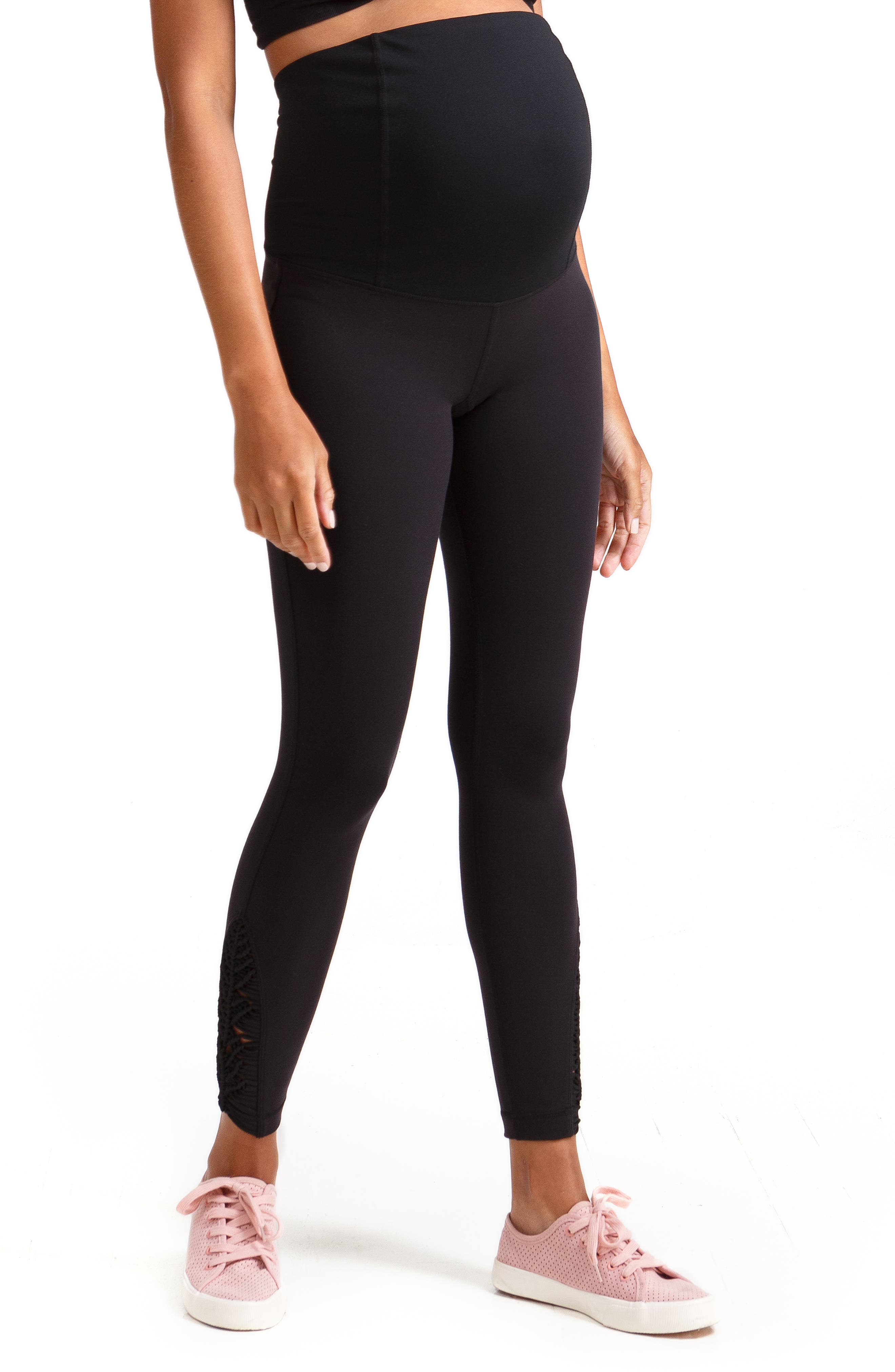INGRID & ISABEL<SUP>®</SUP>, Active Maternity Leggings with Macramé Detail, Alternate thumbnail 5, color, JET BLACK