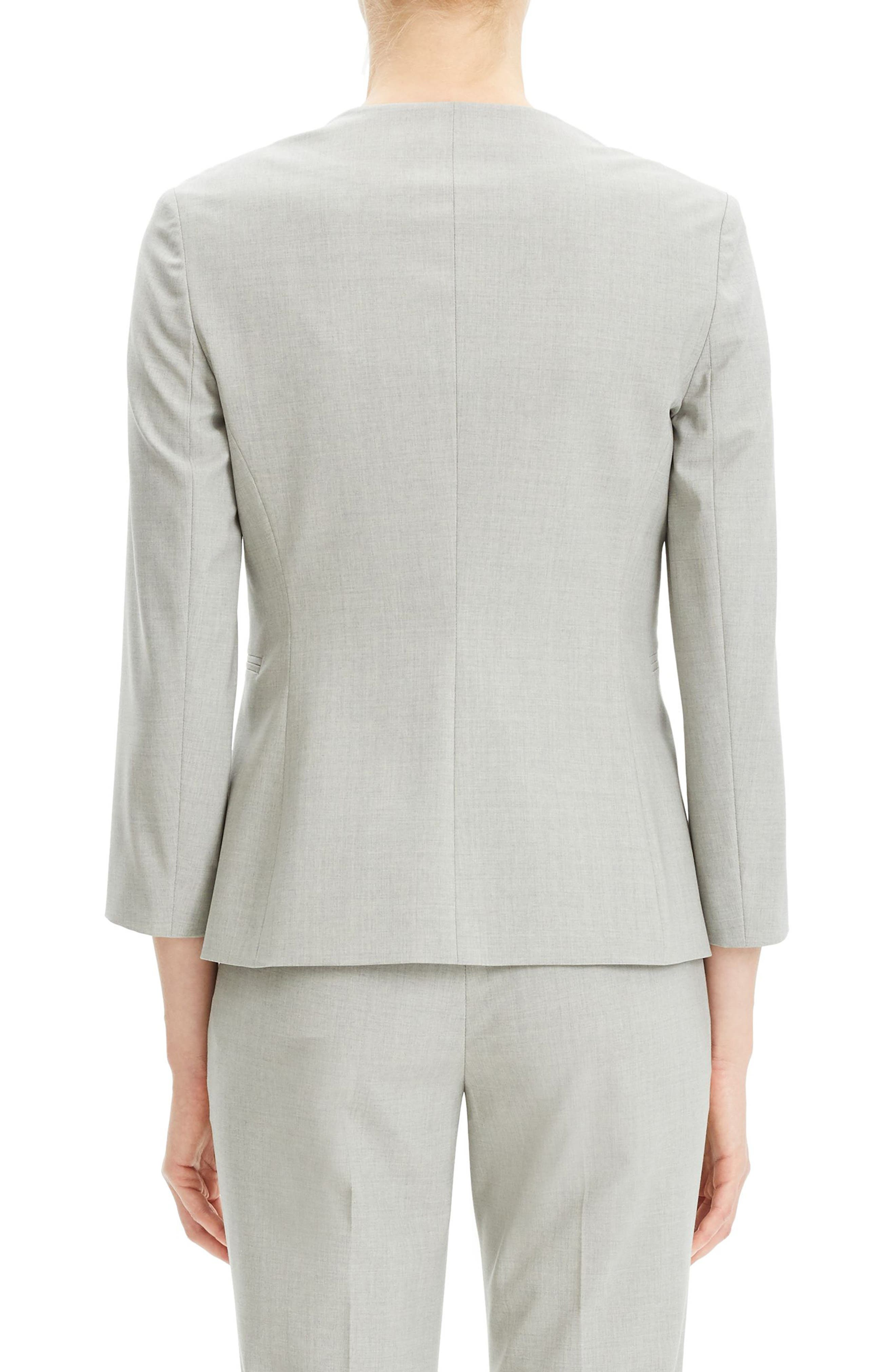 THEORY, Lindrayia B Good Wool Suit Jacket, Alternate thumbnail 2, color, LIGHT GREY MELANGE