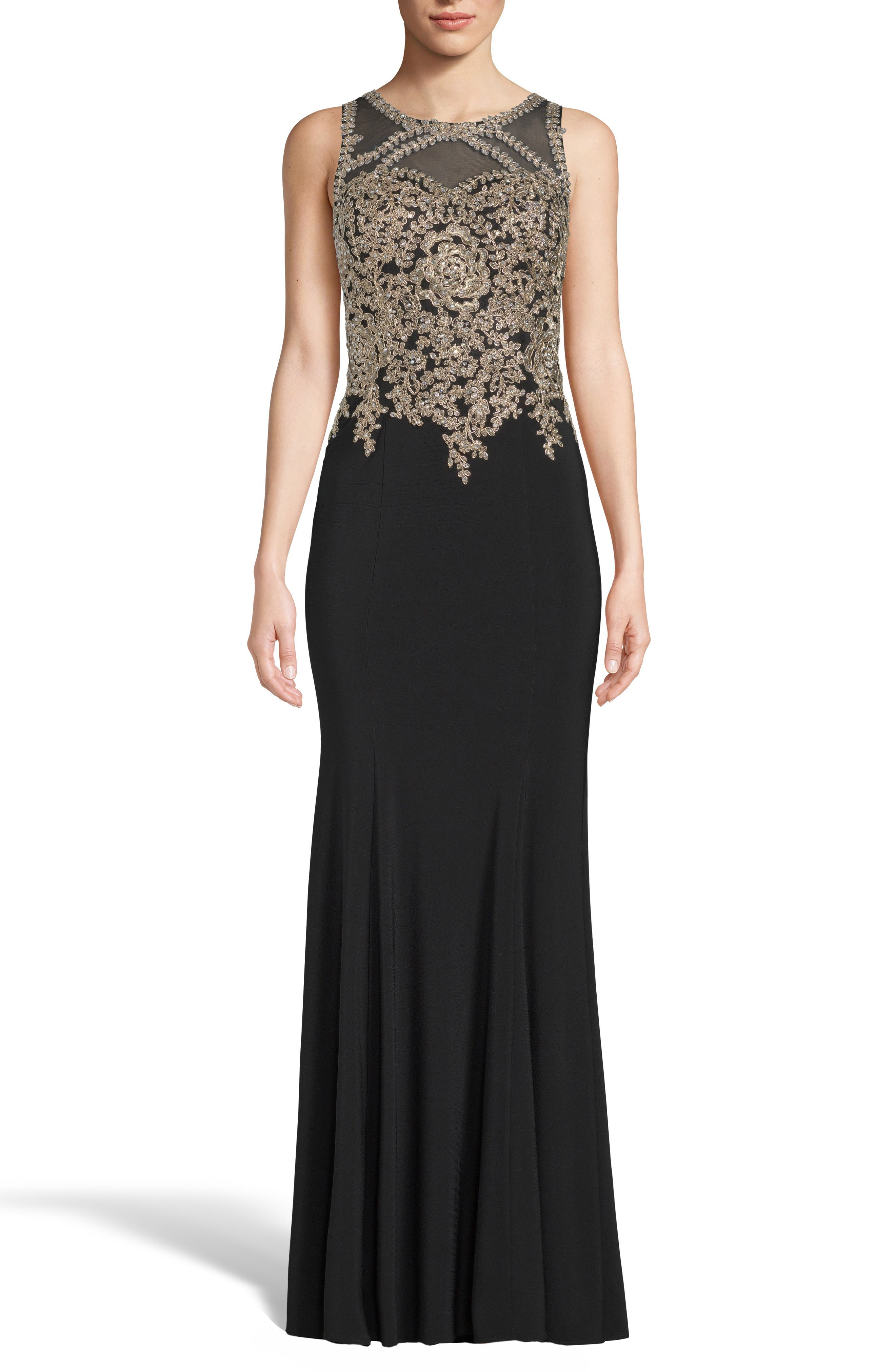 Xscape Golden Embroidered Bodice Evening Dress, Black