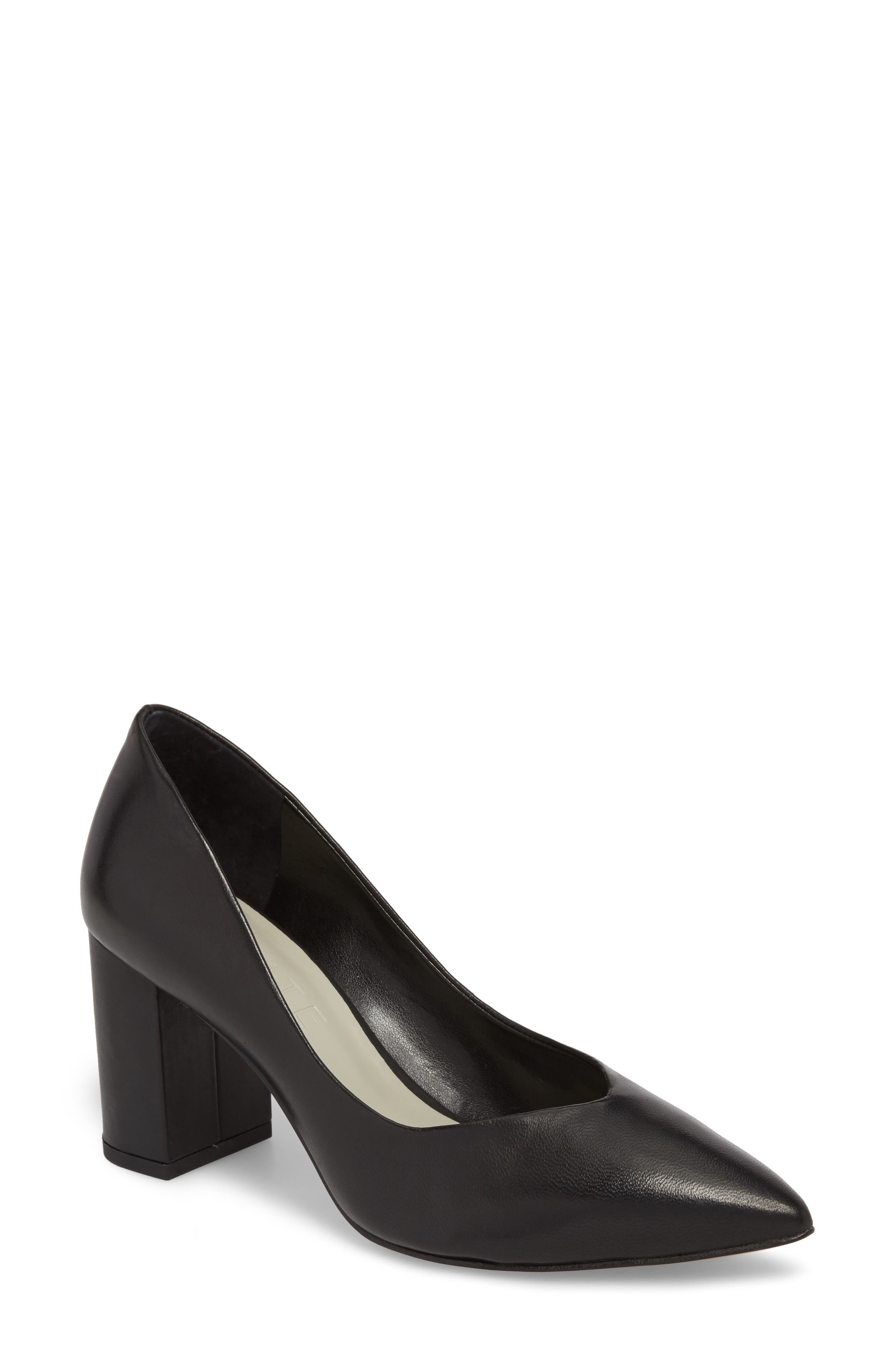 1.STATE, Saffy Block Heel Pump, Main thumbnail 1, color, BLACK LEATHER