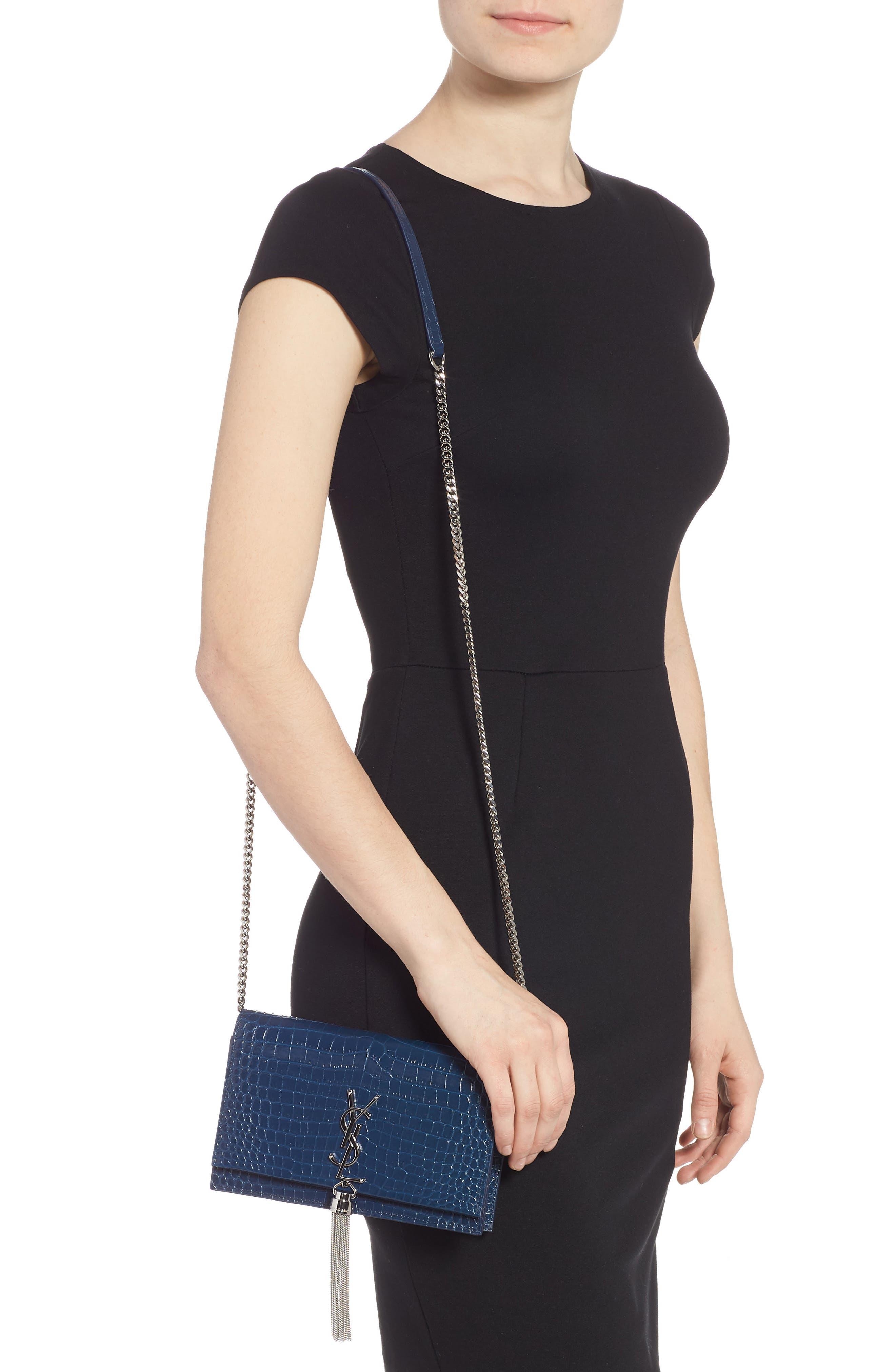SAINT LAURENT, Kate Croc Embossed Leather Wallet on a Chain, Alternate thumbnail 3, color, DENIM BLUE/ DENIM BLUE