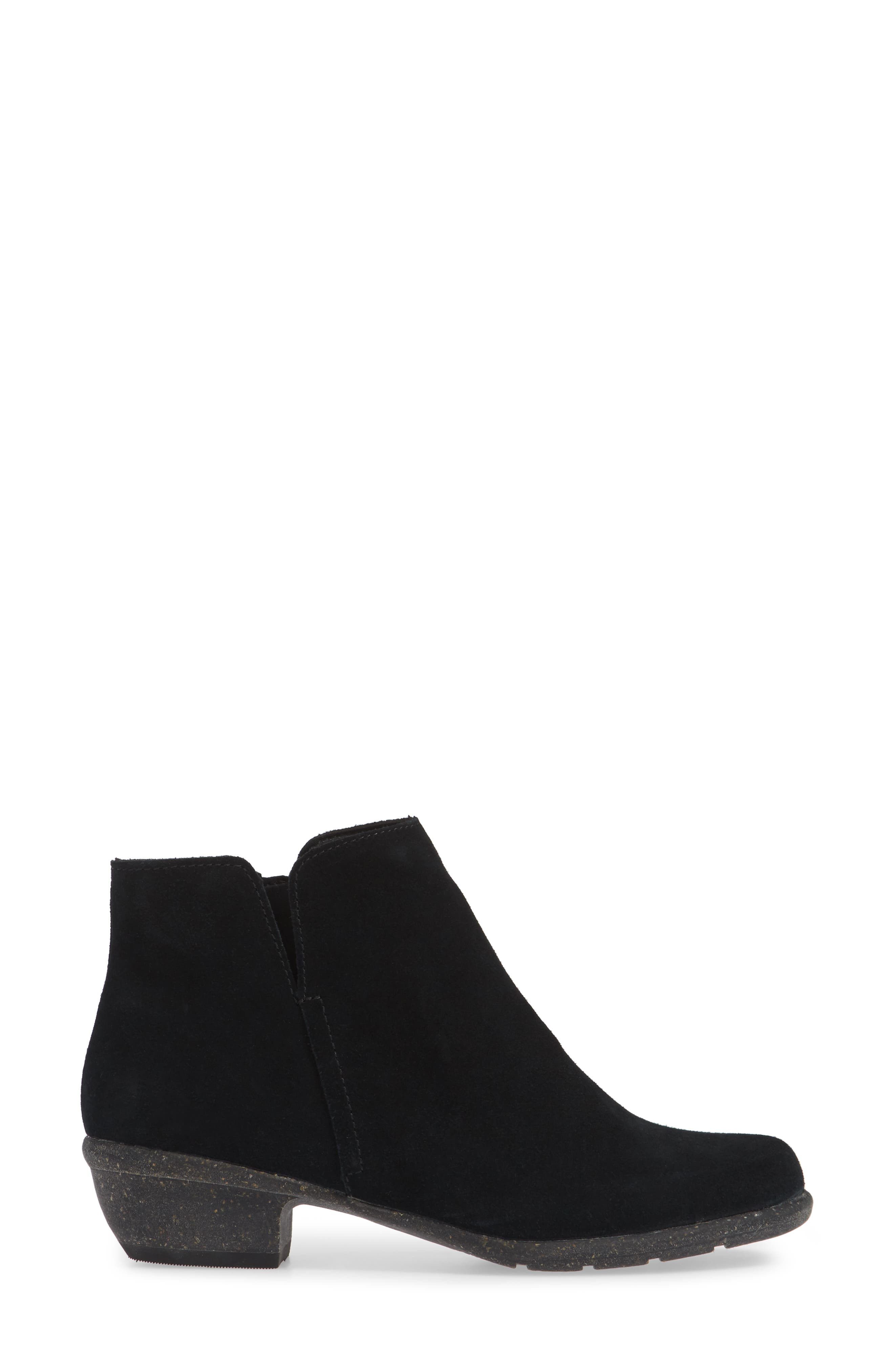 CLARKS<SUP>®</SUP>, Wilrose Frost Bootie, Alternate thumbnail 3, color, BLACK SUEDE