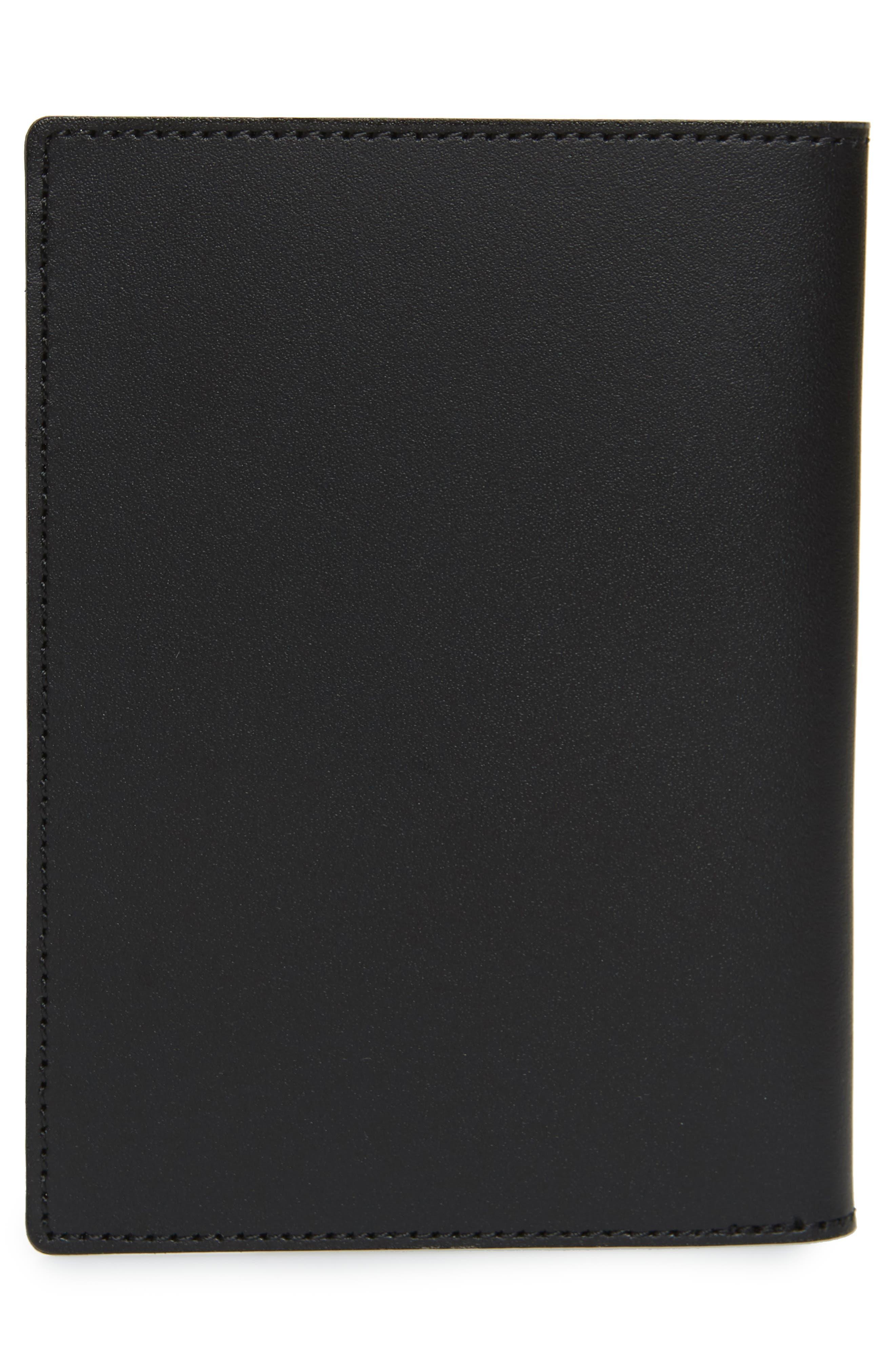 SATURDAYS NYC, Leather Passport Wallet, Alternate thumbnail 3, color, BLACK