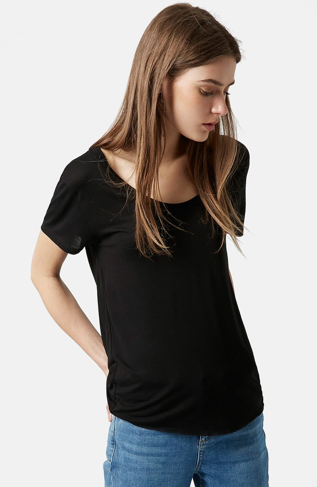 TOPSHOP Short Sleeve V-Neck Tee, Main, color, 001