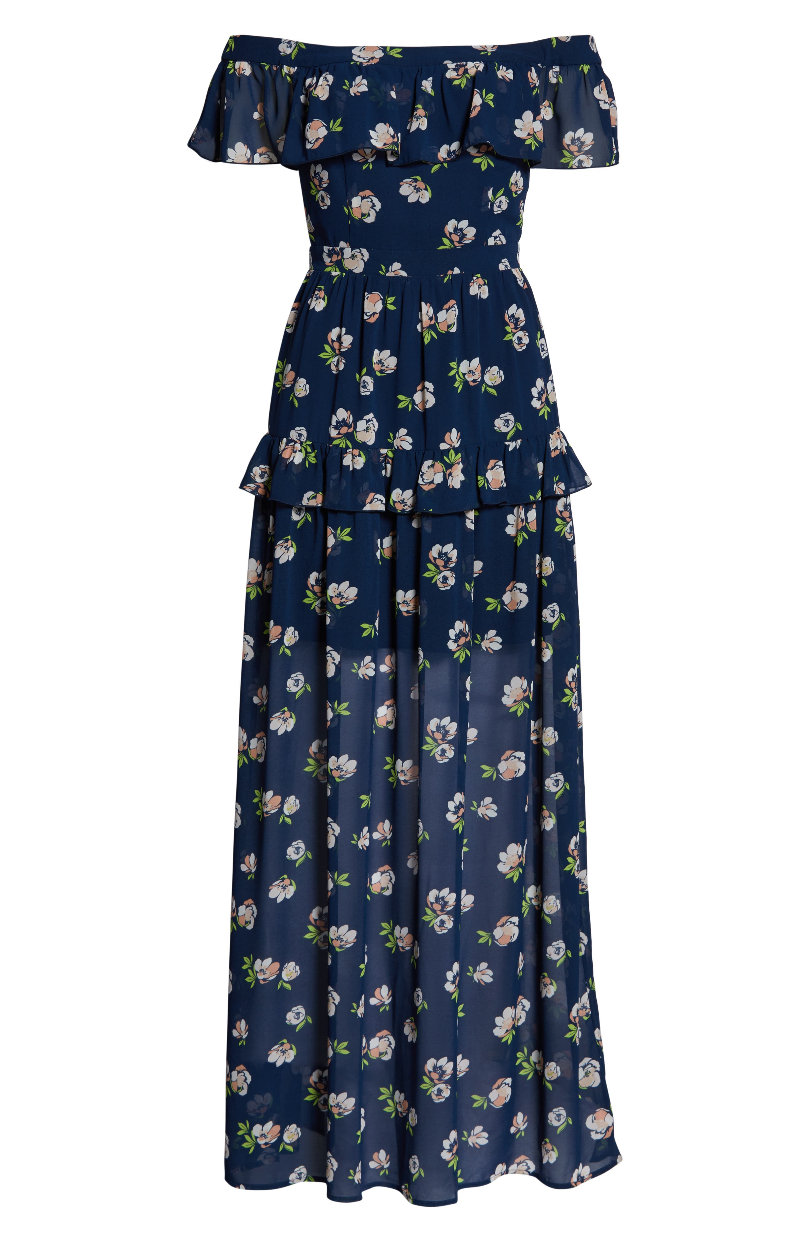 CHARLES HENRY, Off the Shoulder Ruffle Maxi Dress, Alternate thumbnail 7, color, NAVY PEACH FLORAL