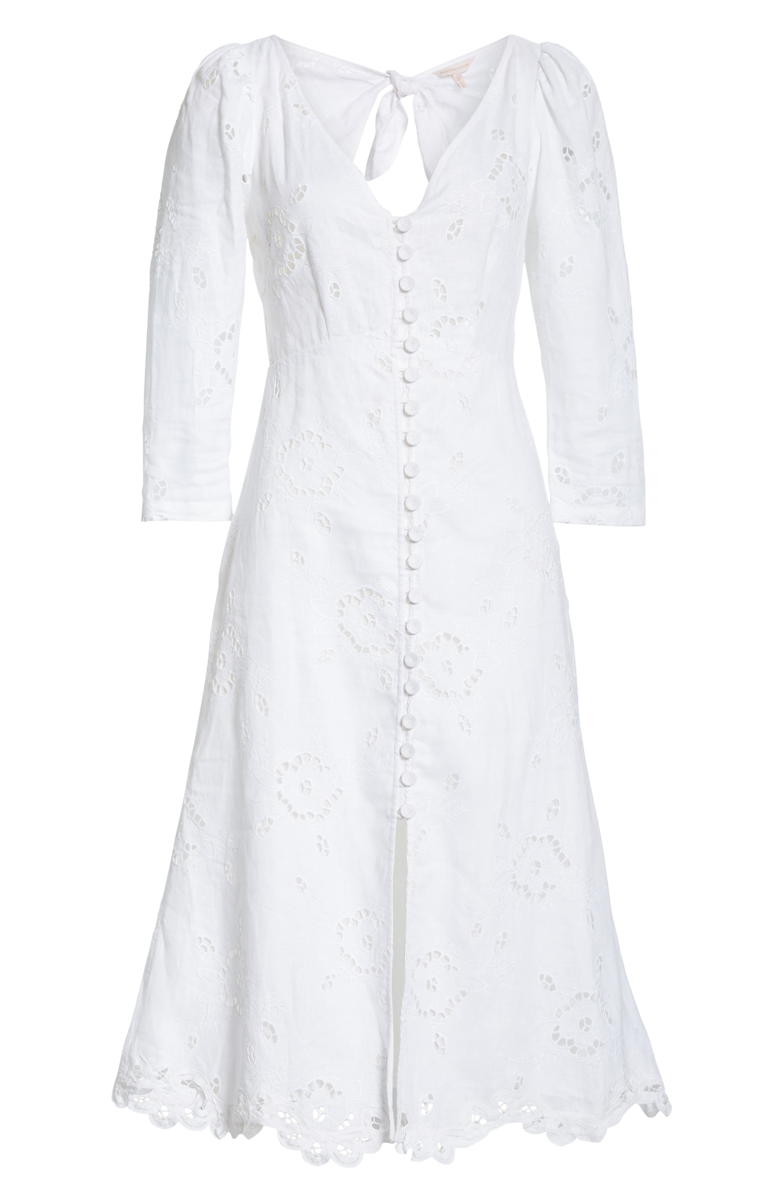 REBECCA TAYLOR, Terri Embroidered A-Line Dress, Alternate thumbnail 7, color, MILK