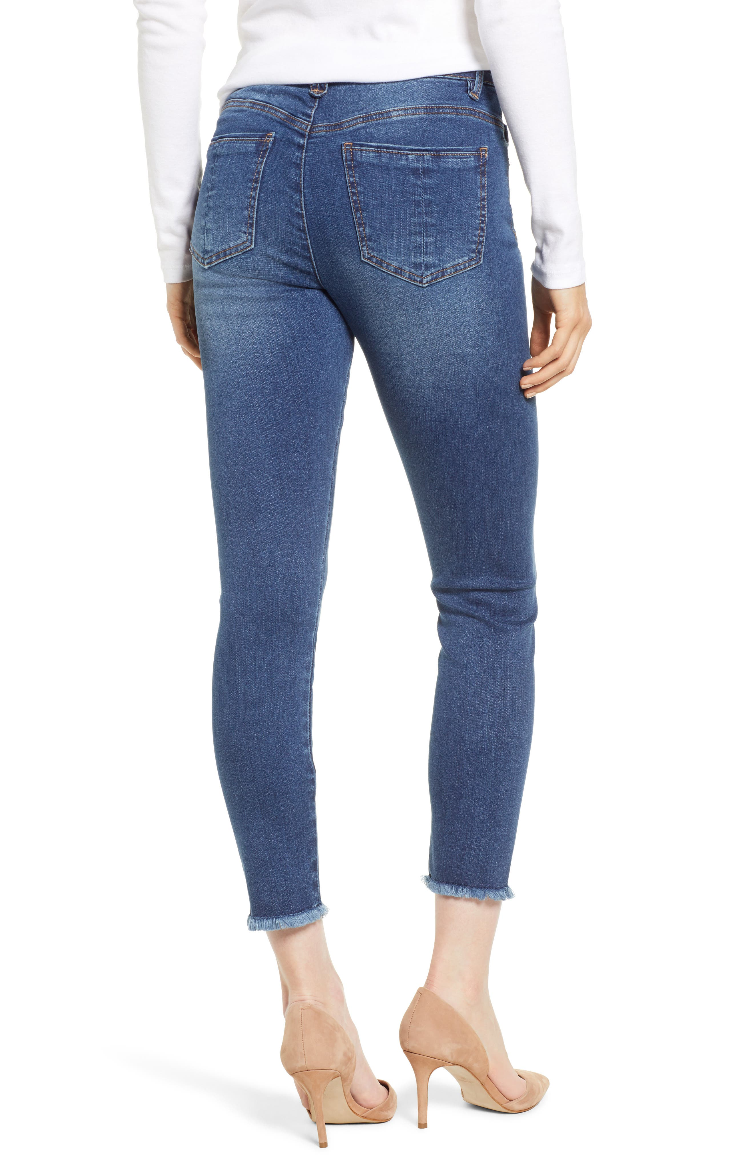 WIT & WISDOM, High Waist Fray Hem Seamless Skinny Ankle Jeans, Alternate thumbnail 2, color, BLUE