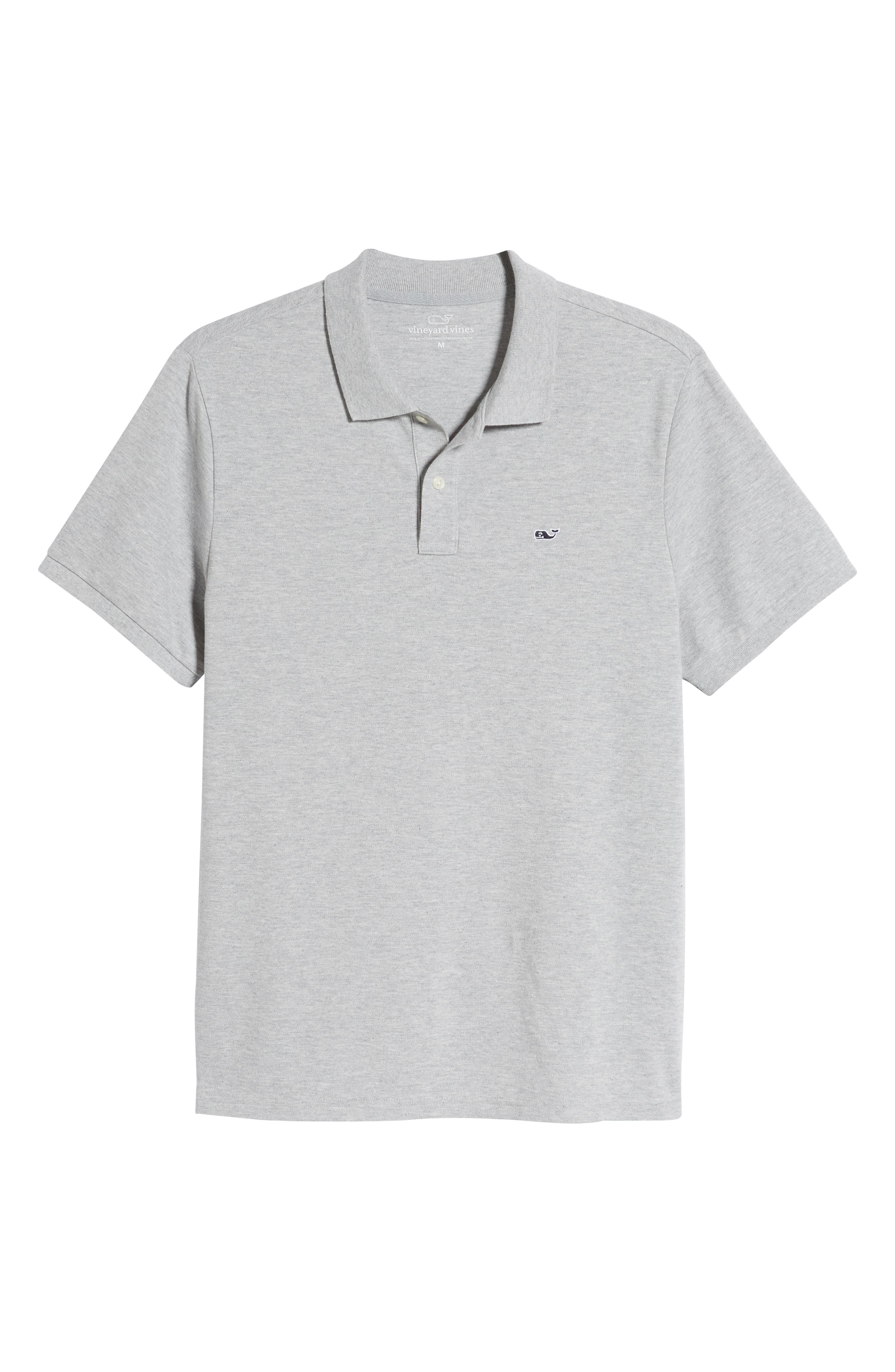 VINEYARD VINES, Regular Fit Stretch Piqué Polo, Alternate thumbnail 6, color, LIGHT GRAY HEATHER