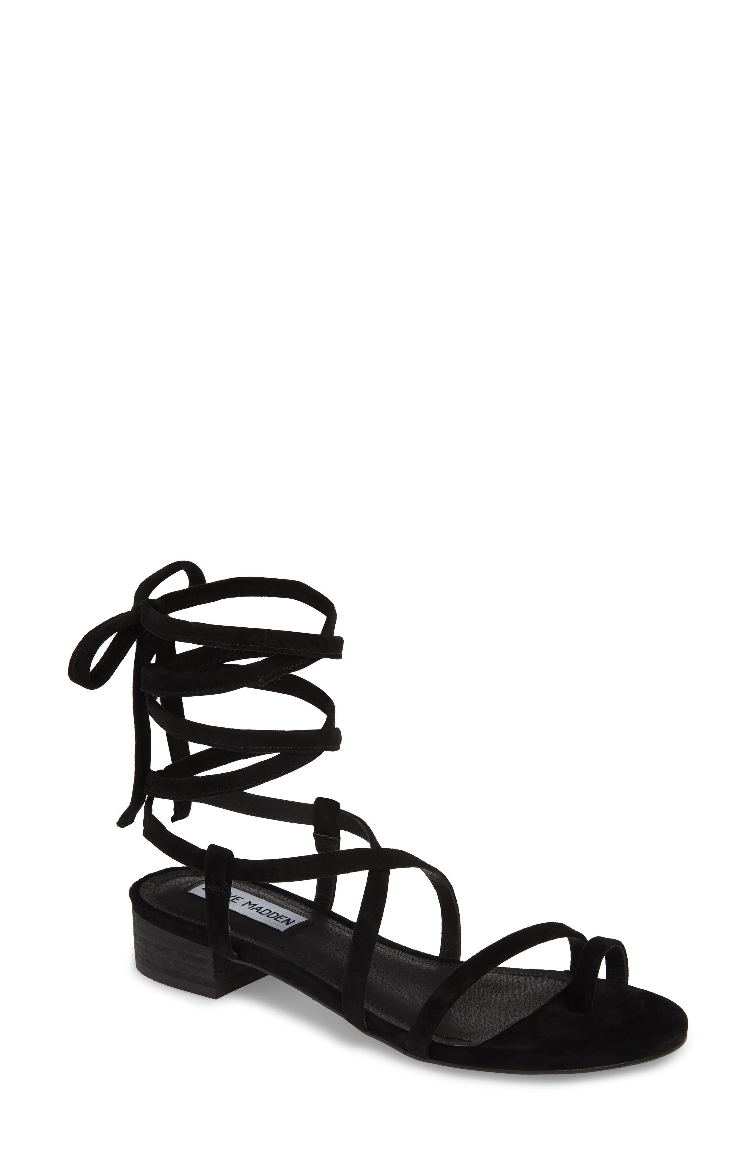 STEVE MADDEN Adrenaline Lace-Up Sandal, Main, color, BLACK SUEDE
