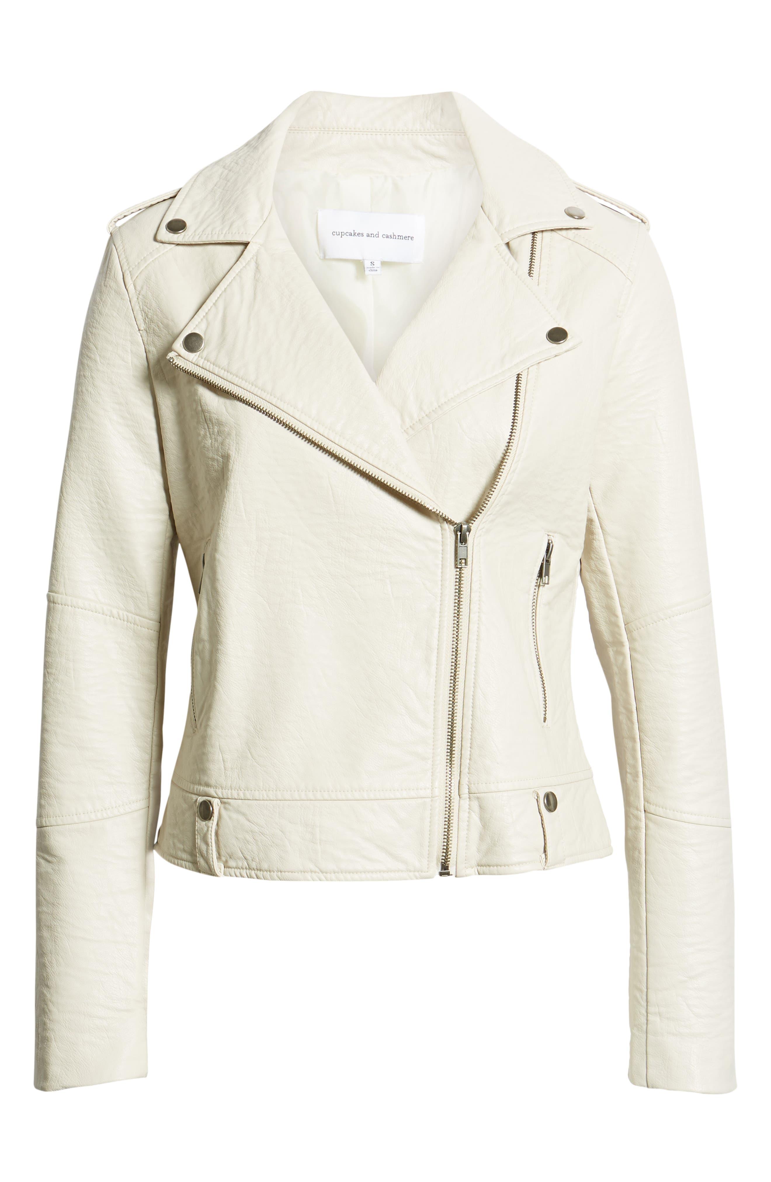 CUPCAKES AND CASHMERE, Vivica Faux Leather Jacket, Alternate thumbnail 6, color, BONE
