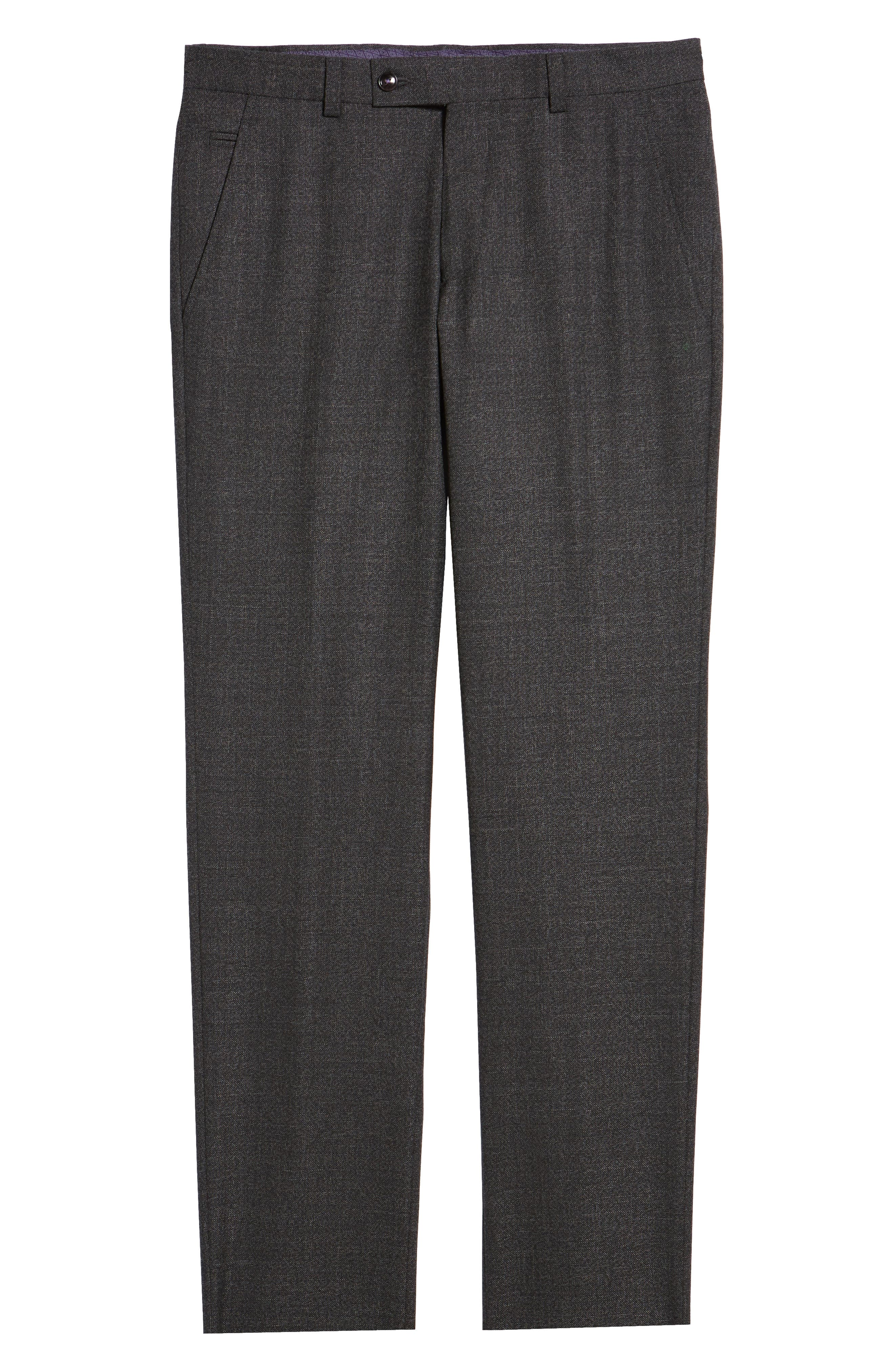 TED BAKER LONDON, Jerome Flat Front Solid Wool Trousers, Alternate thumbnail 6, color, CHARCOAL