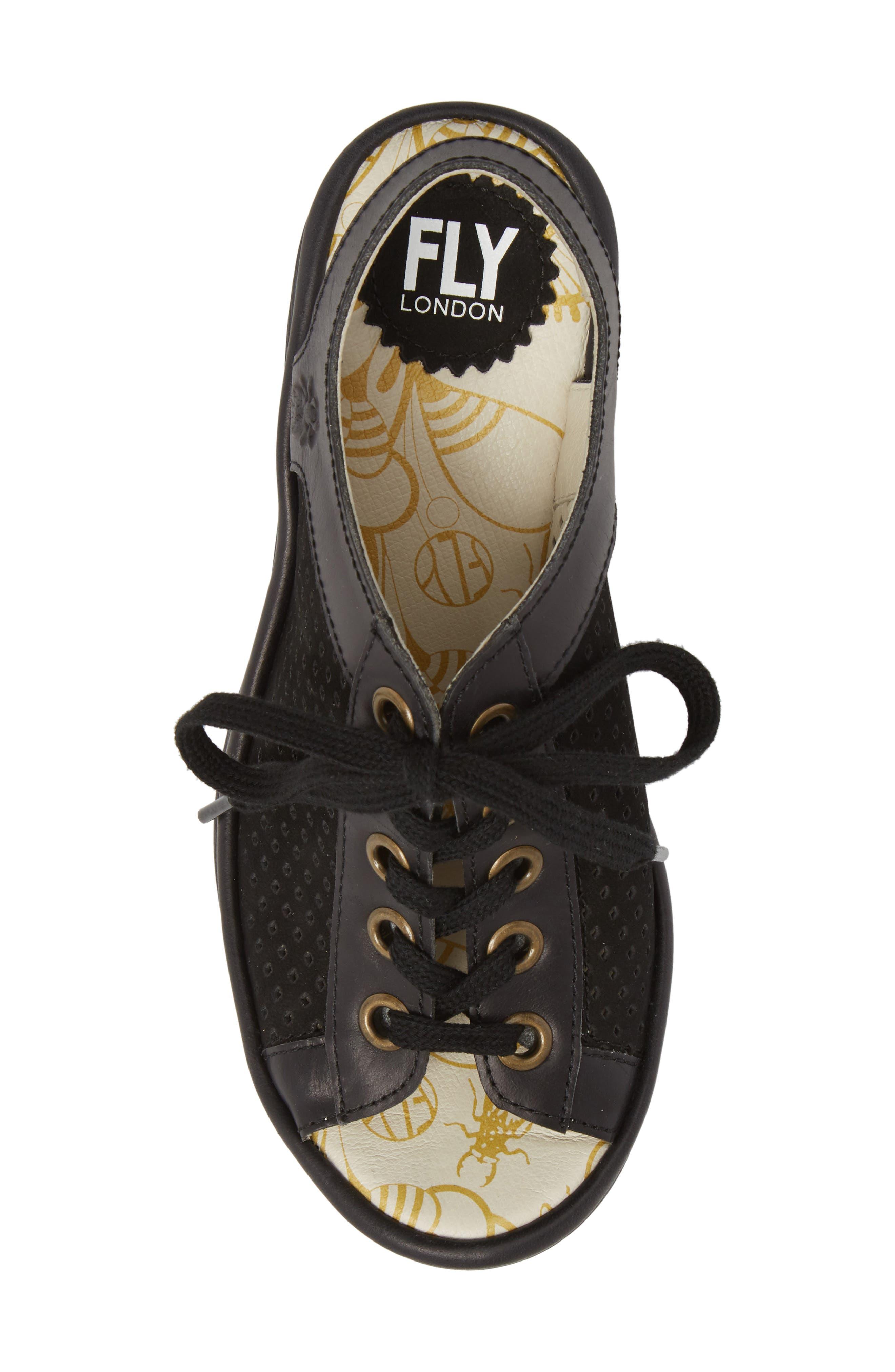 FLY LONDON, Yeki Sandal, Alternate thumbnail 5, color, BLACK CUPIDO/ RUG LEATHER