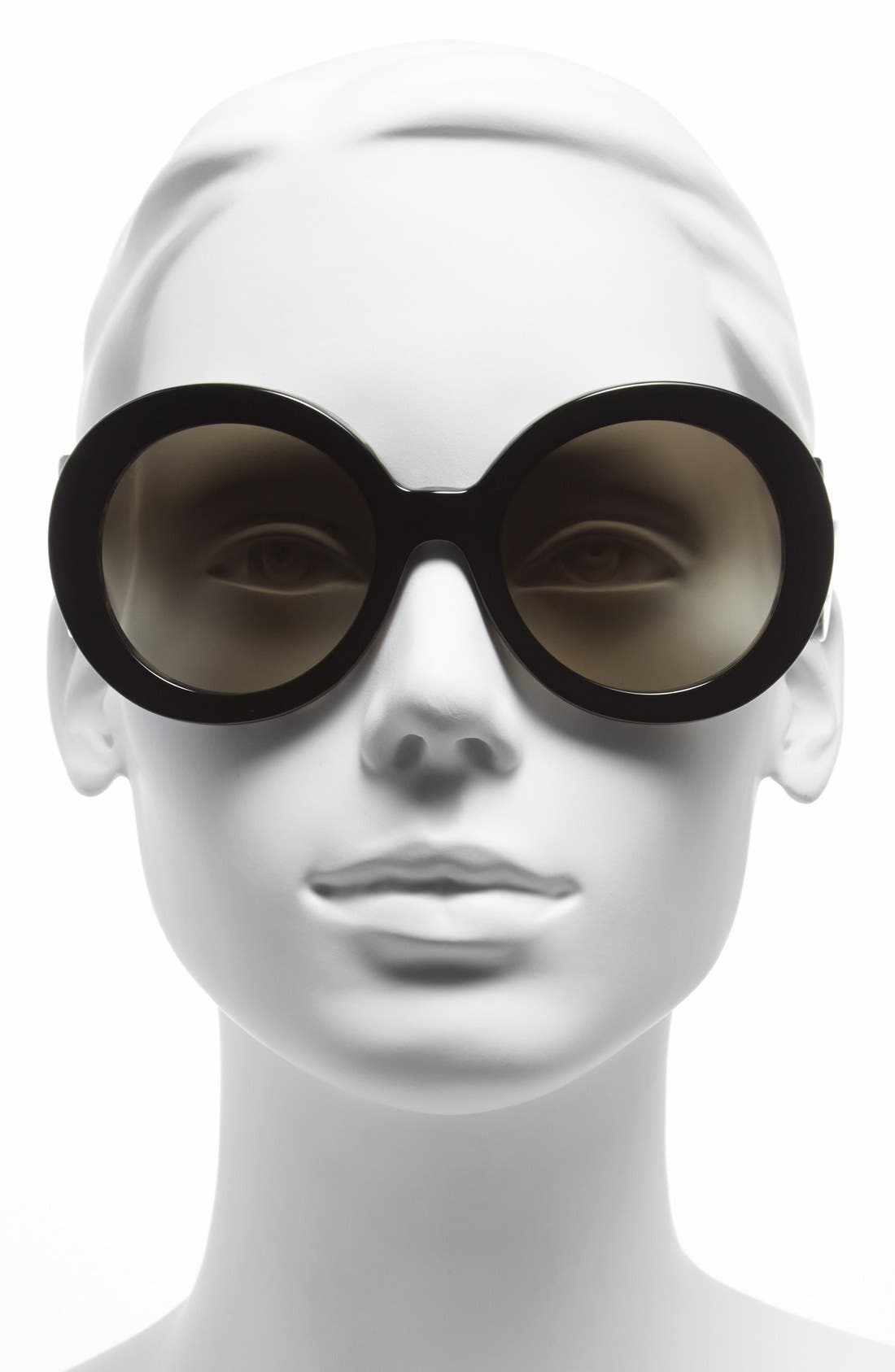 PRADA, 'Baroque' 55mm Round Sunglasses, Alternate thumbnail 2, color, 100