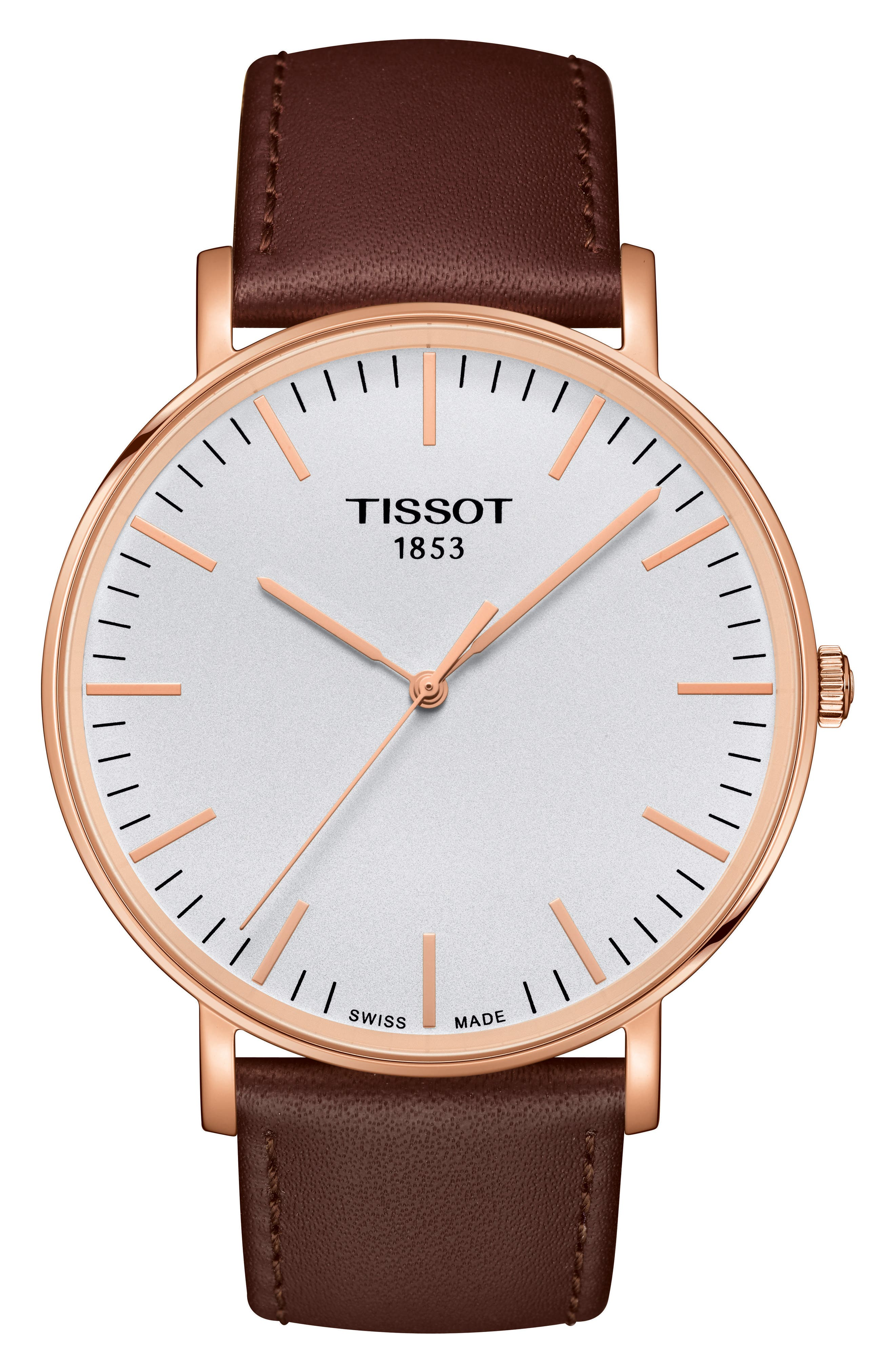 TISSOT Everytime Leather Strap Watch, 42mm, Main, color, BROWN/ SILVER/ ROSE GOLD