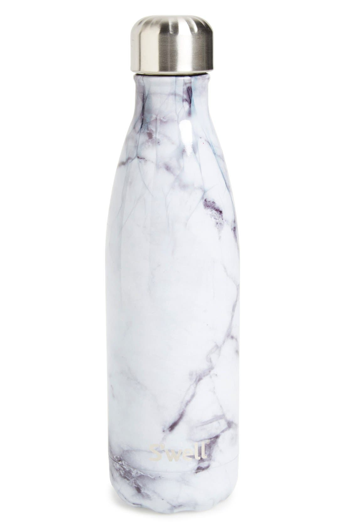 S'WELL 'White Marble' Insulated Stainless Steel Water Bottle, Main, color, 100