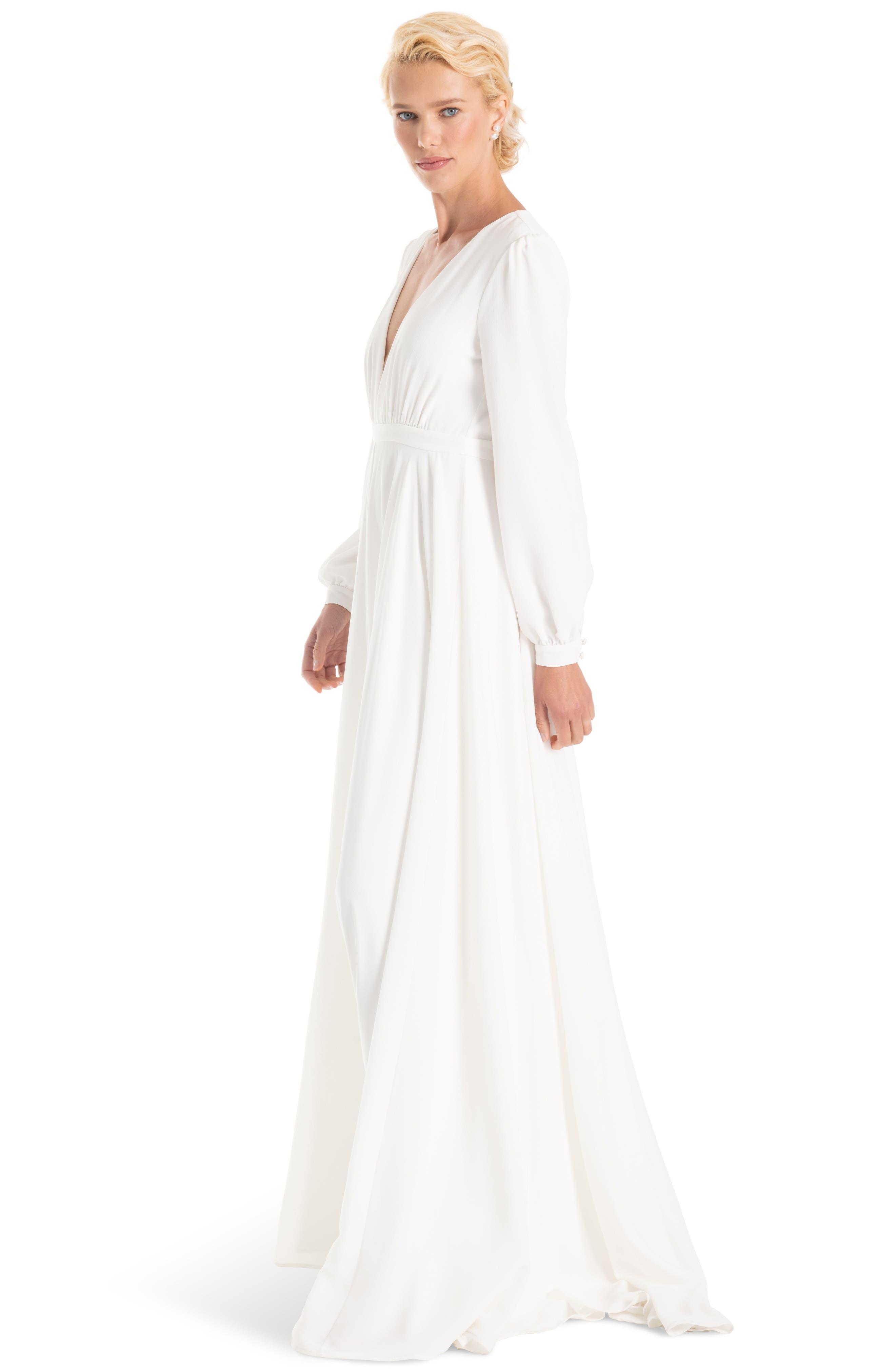 JOANNA AUGUST, Floyd V-Neck Long Sleeve Gown, Alternate thumbnail 3, color, WHITE