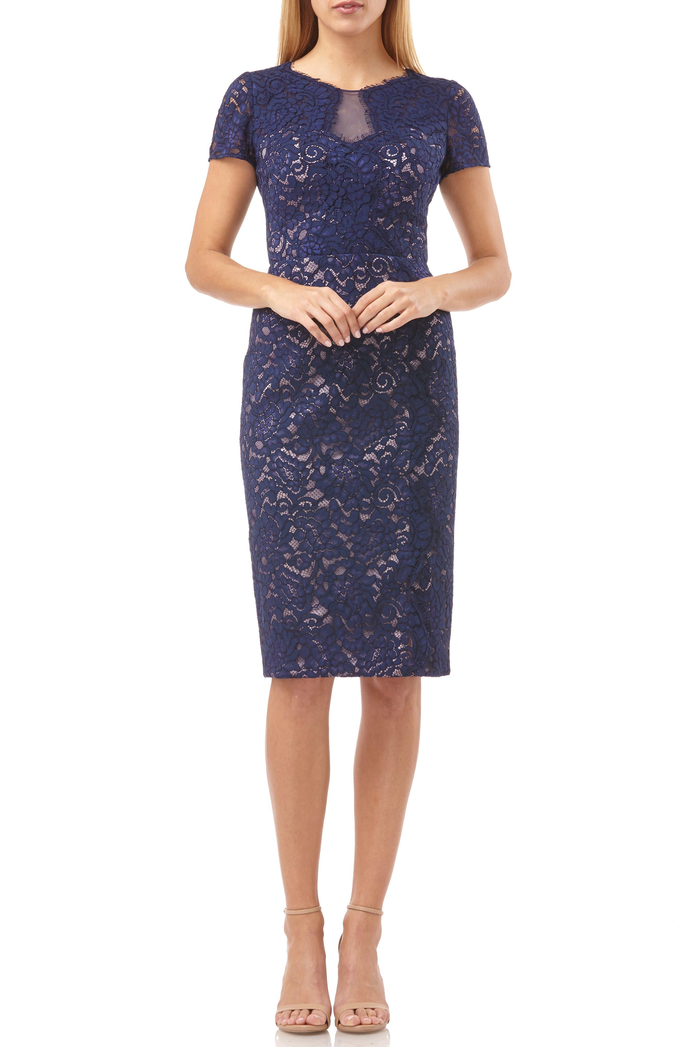 Js Collections Lace Cocktail Dress, Blue