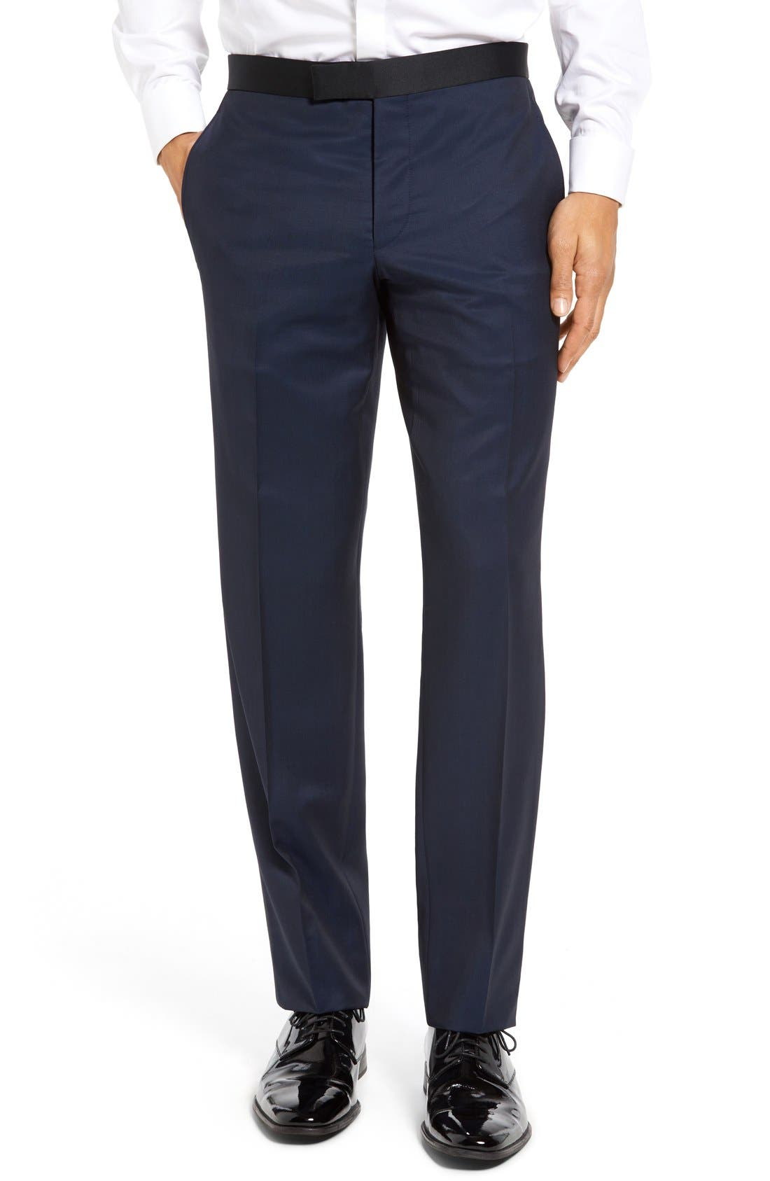 TED BAKER LONDON, Josh Trim Fit Navy Shawl Lapel Tuxedo, Alternate thumbnail 8, color, NAVY BLUE