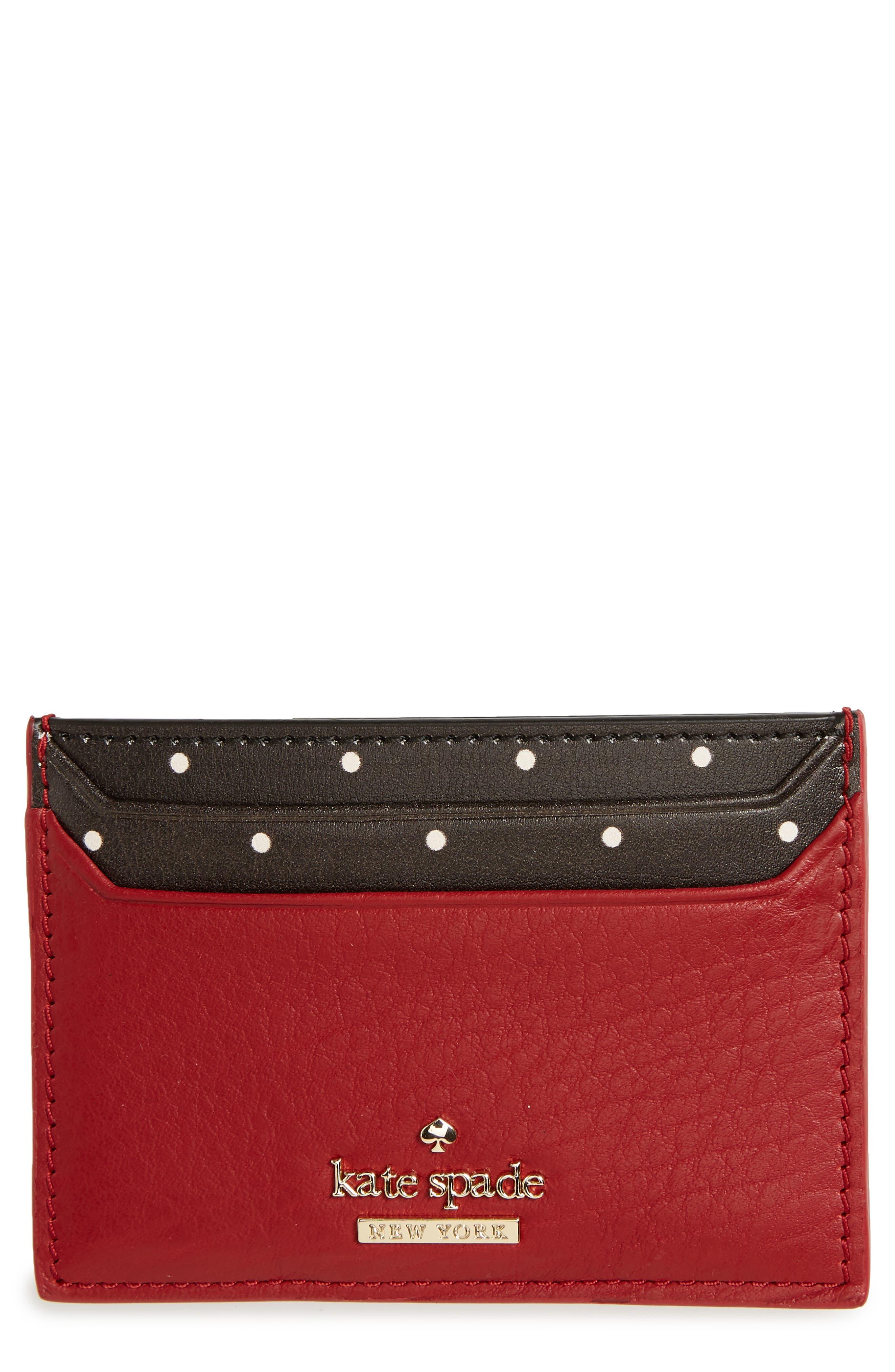 KATE SPADE NEW YORK blake street - dot lynleigh leather card case, Main, color, 600