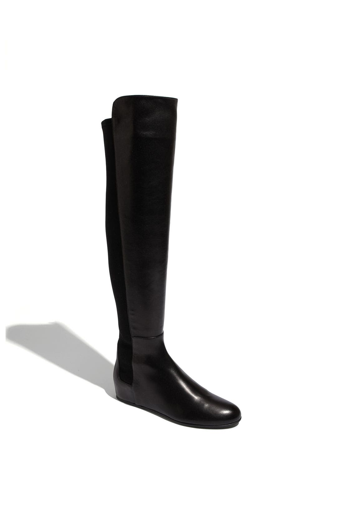 STUART WEITZMAN, 'Mainline' Stretch Fabric & Nappa Leather Over the Knee Boot, Main thumbnail 1, color, 002