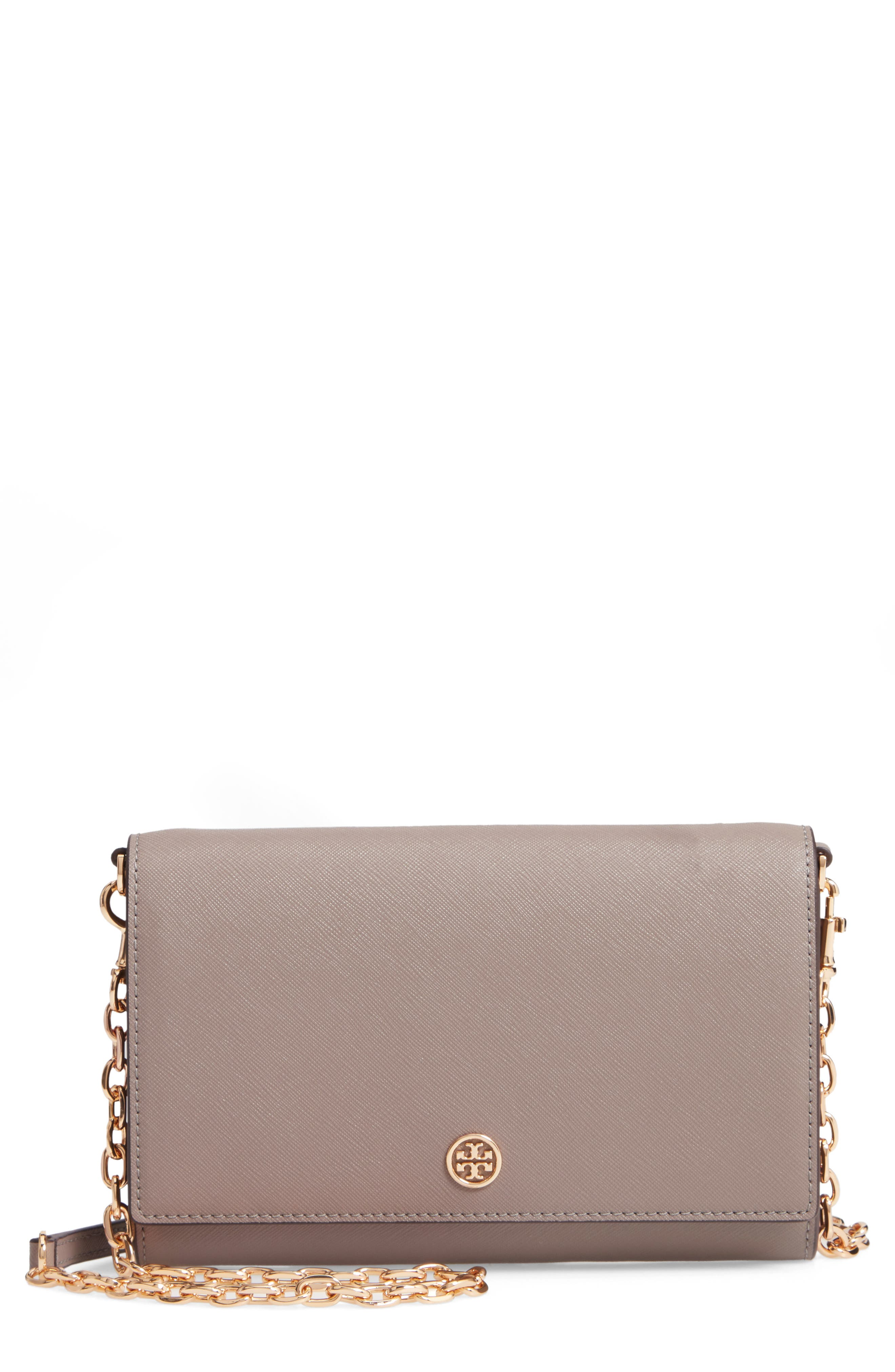 TORY BURCH Robinson Leather Wallet on a Chain, Main, color, GRAY HERON