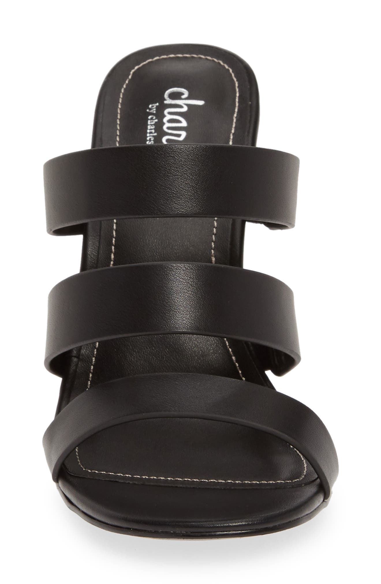 CHARLES BY CHARLES DAVID, Rivalary Slide Sandal, Alternate thumbnail 4, color, BLACK FAUX LEATHER