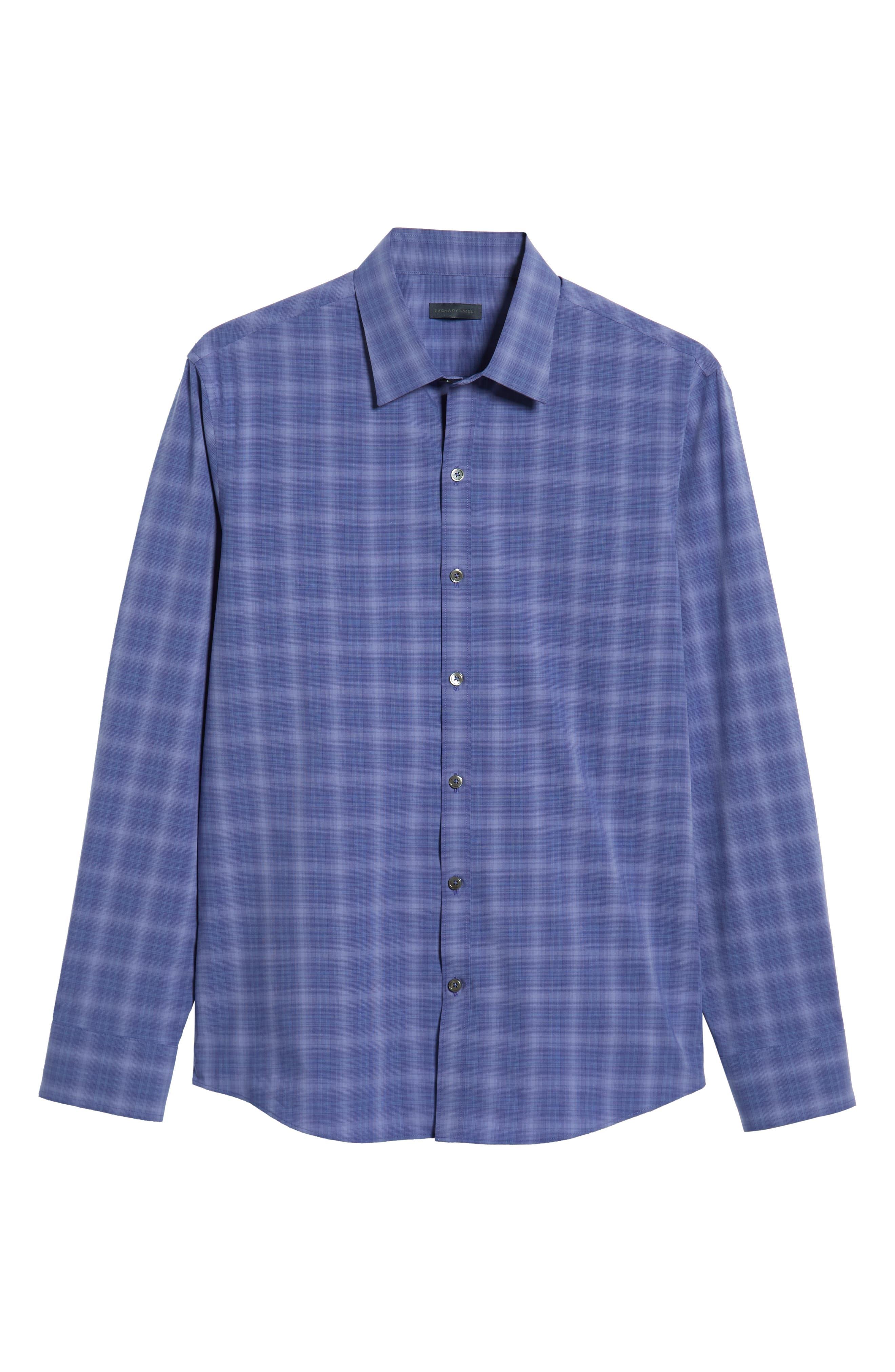 ZACHARY PRELL, Wandy Regular Fit Check Sport Shirt, Alternate thumbnail 5, color, LIGHT PURPLE