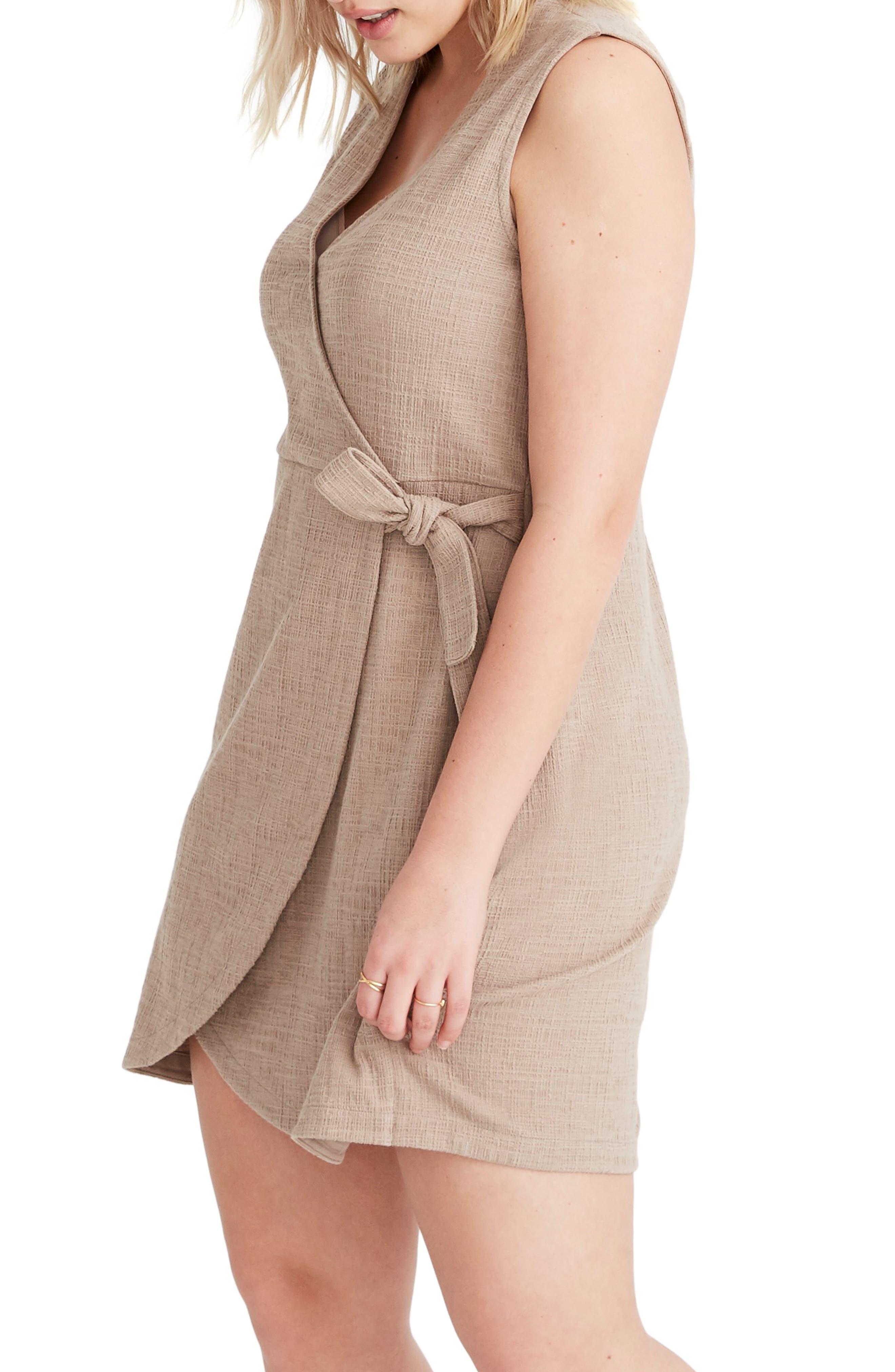 MADEWELL, Texture & Thread Side Tie Minidress, Alternate thumbnail 9, color, TELLURIDE STONE