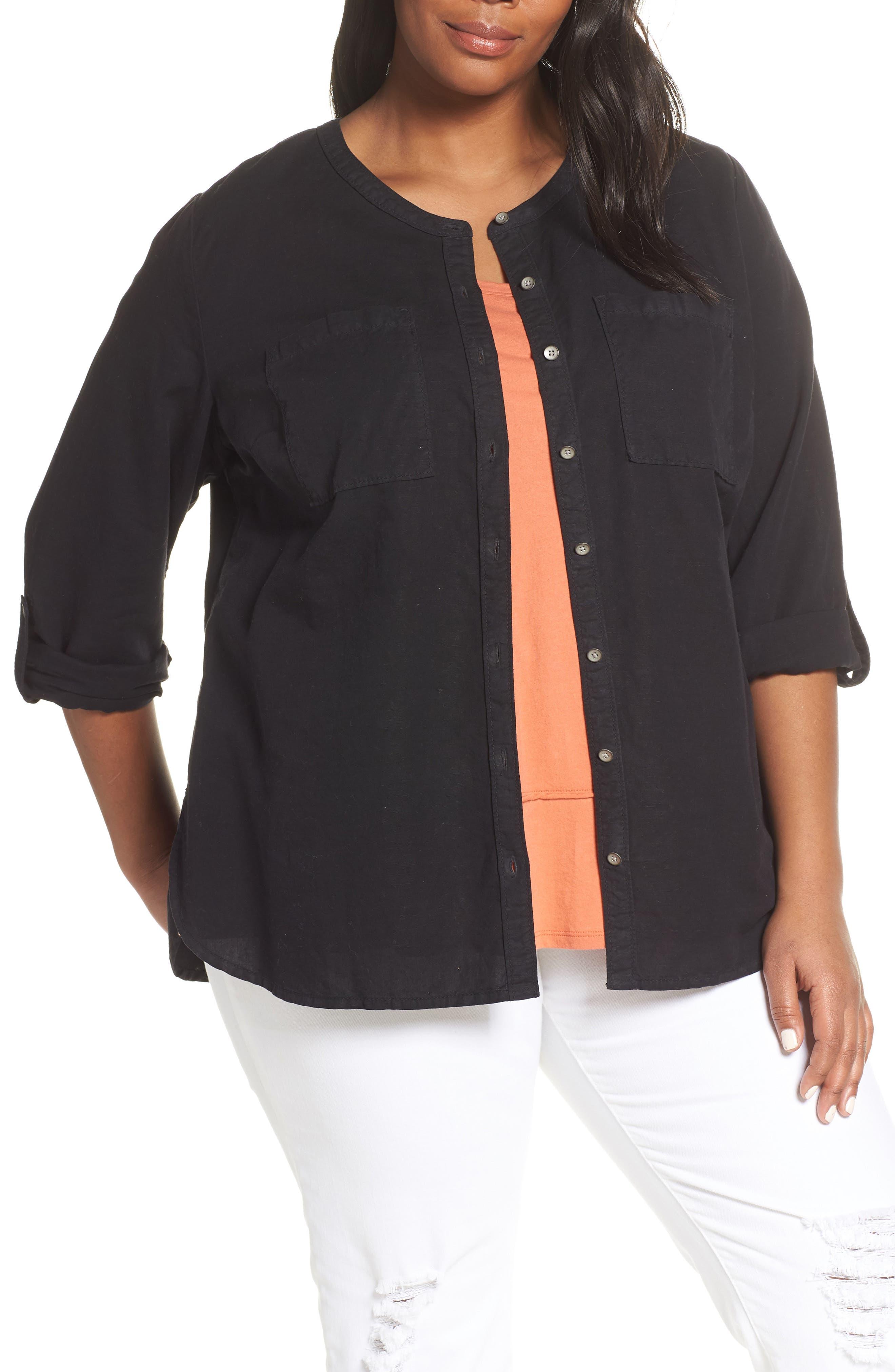 CASLON<SUP>®</SUP> Long Sleeve Top, Main, color, BLACK