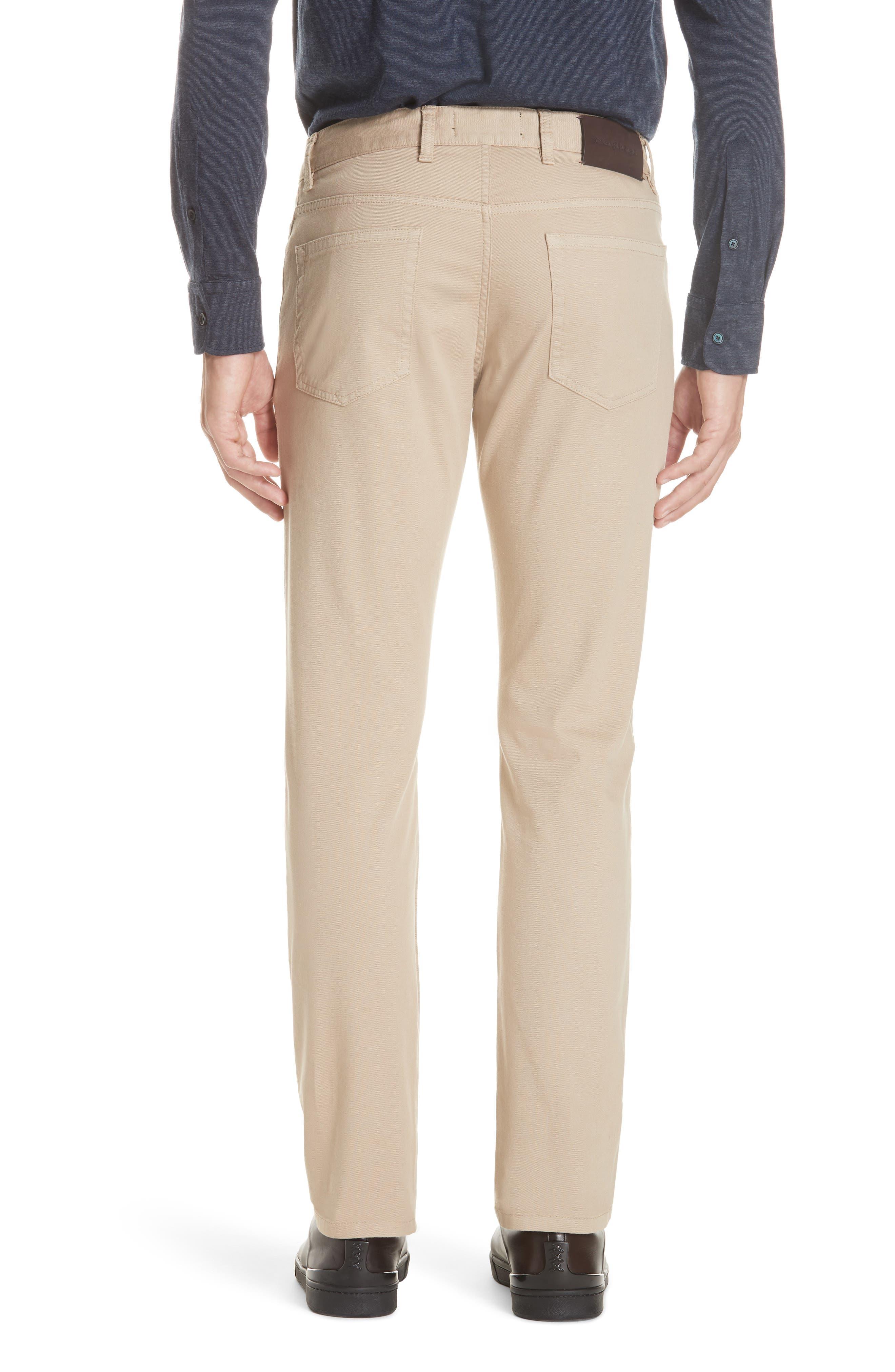 ERMENEGILDO ZEGNA, Stretch Cotton Five Pocket Pants, Alternate thumbnail 2, color, LIGHT BEIGE