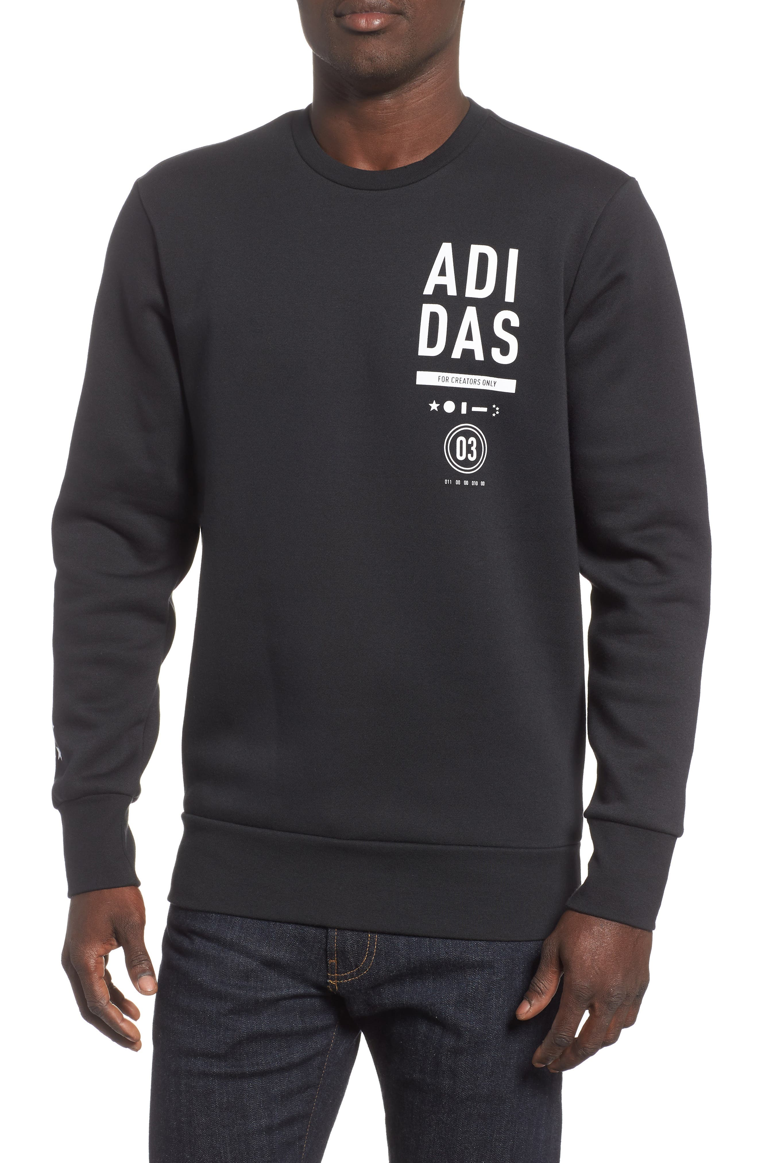 ADIDAS, International Regular Fit Sweatshirt, Main thumbnail 1, color, BLACK