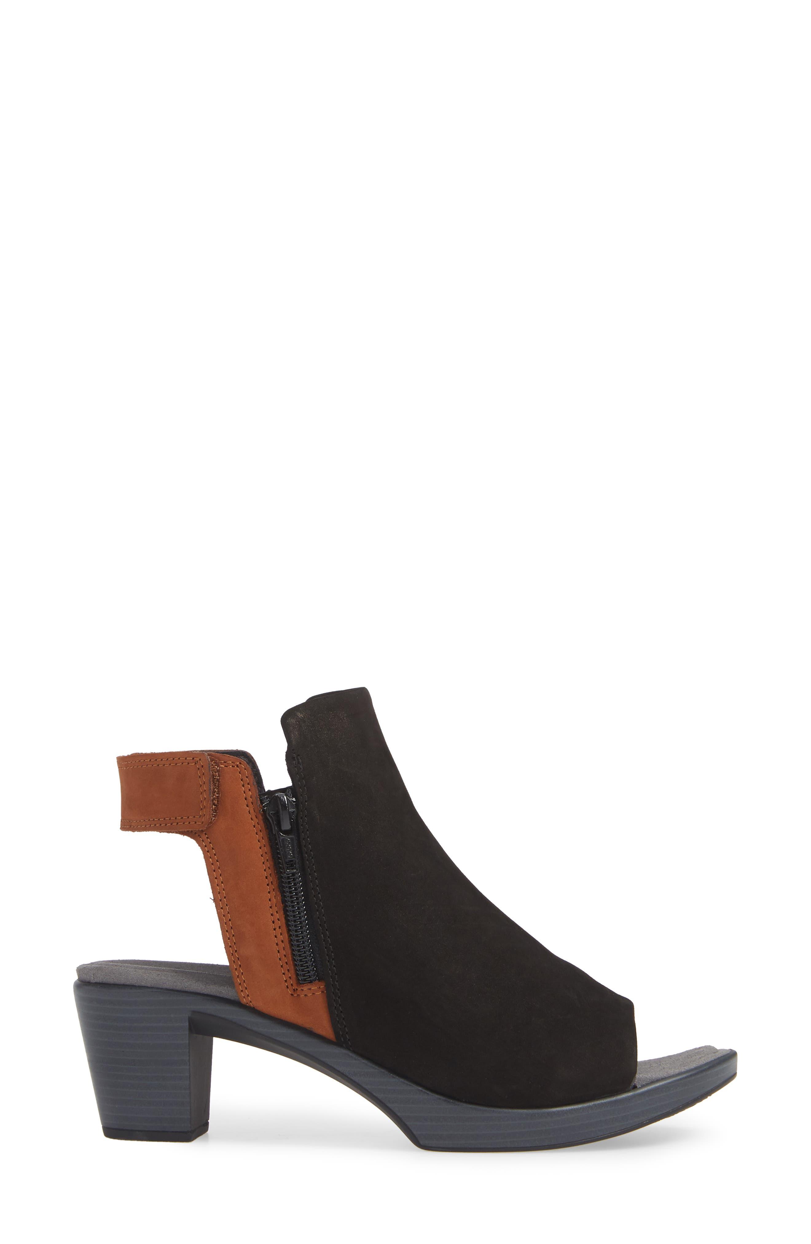 NAOT, Favorite Sandal, Alternate thumbnail 3, color, BLACK/ HAWAIIAN BROWN NUBUCK