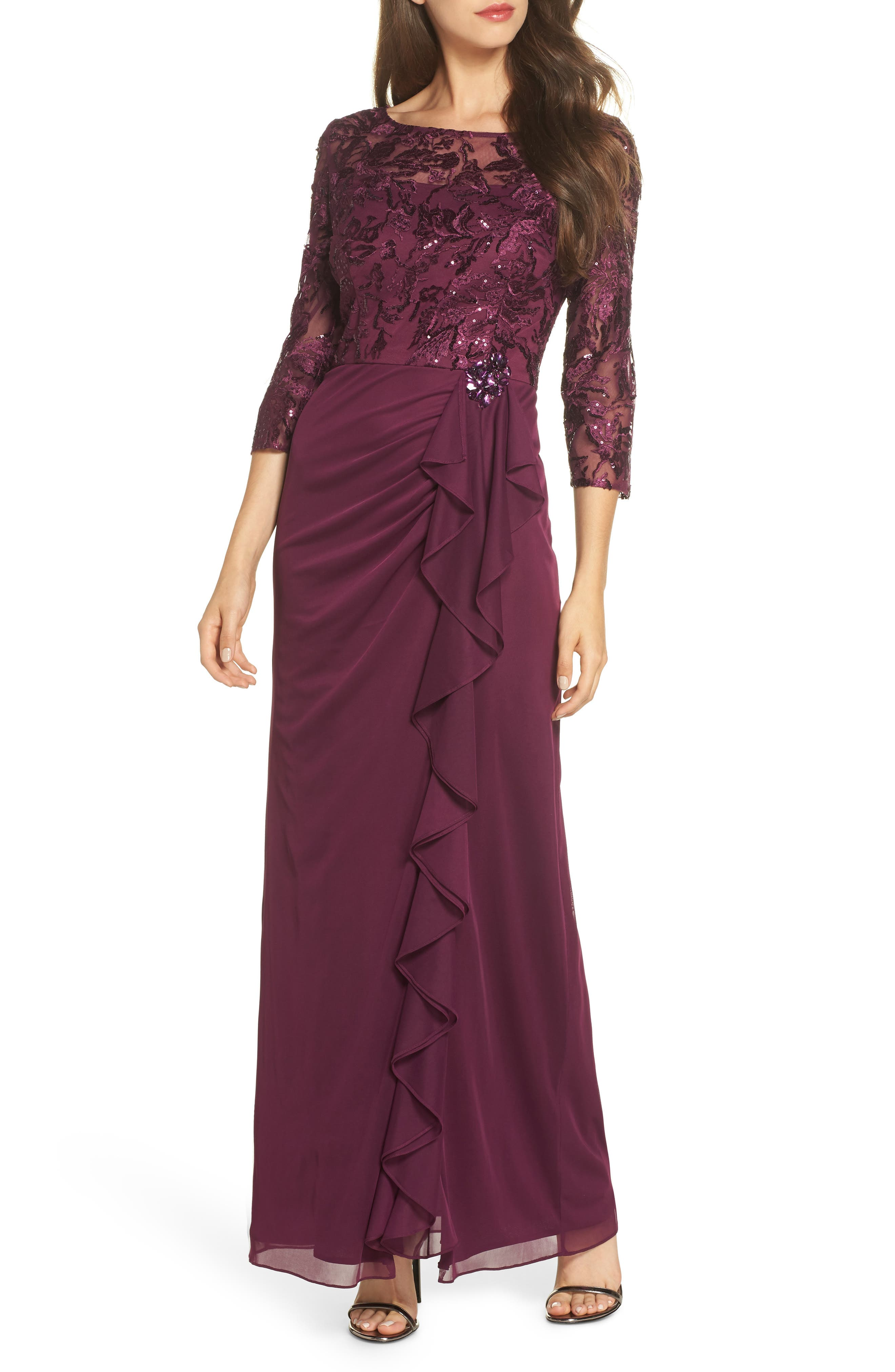 Alex Evenings Ruffle Detail Column Gown, Purple