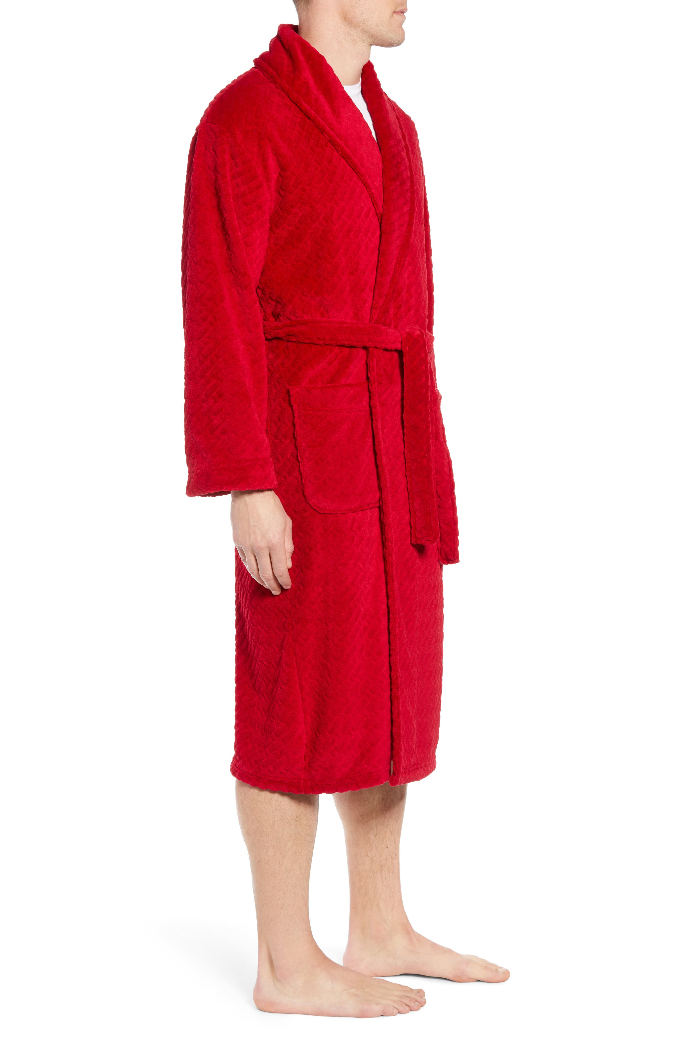 MAJESTIC INTERNATIONAL, Fireside Fleece Robe, Alternate thumbnail 3, color, RED RIBBON